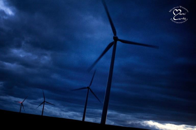 In twilight, Port Austin, Michigan's wind farm creates pretty dramatic landscapes.