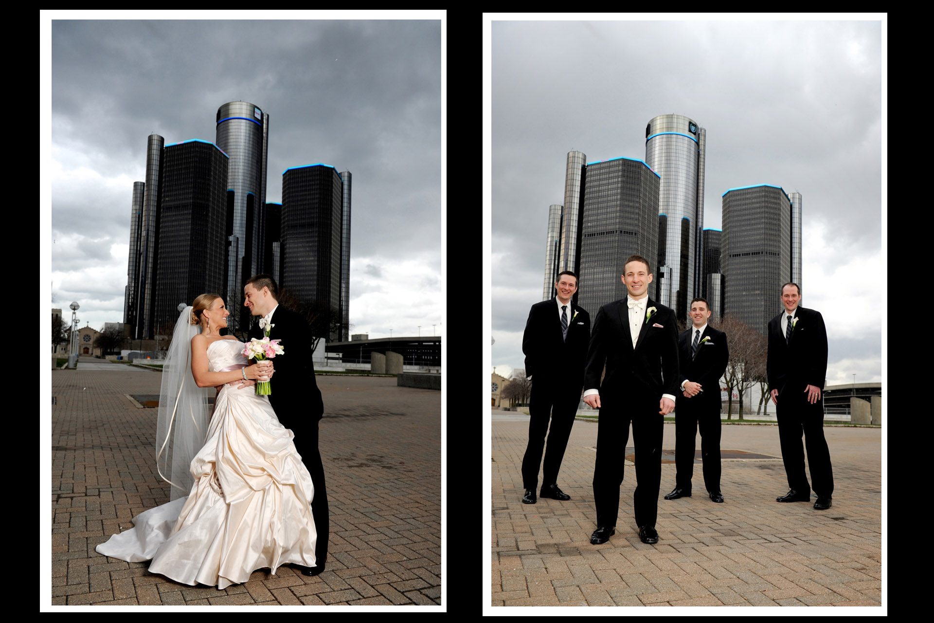 A windy winter wedding in Michigan showcases Michigan wedding photographer's photograph of the bride and groom and the groomsmen at Hart Plaza in Detroit after their wedding venue St. Aloysius Detroit, Michigan and the Detroit Athletic Club.
