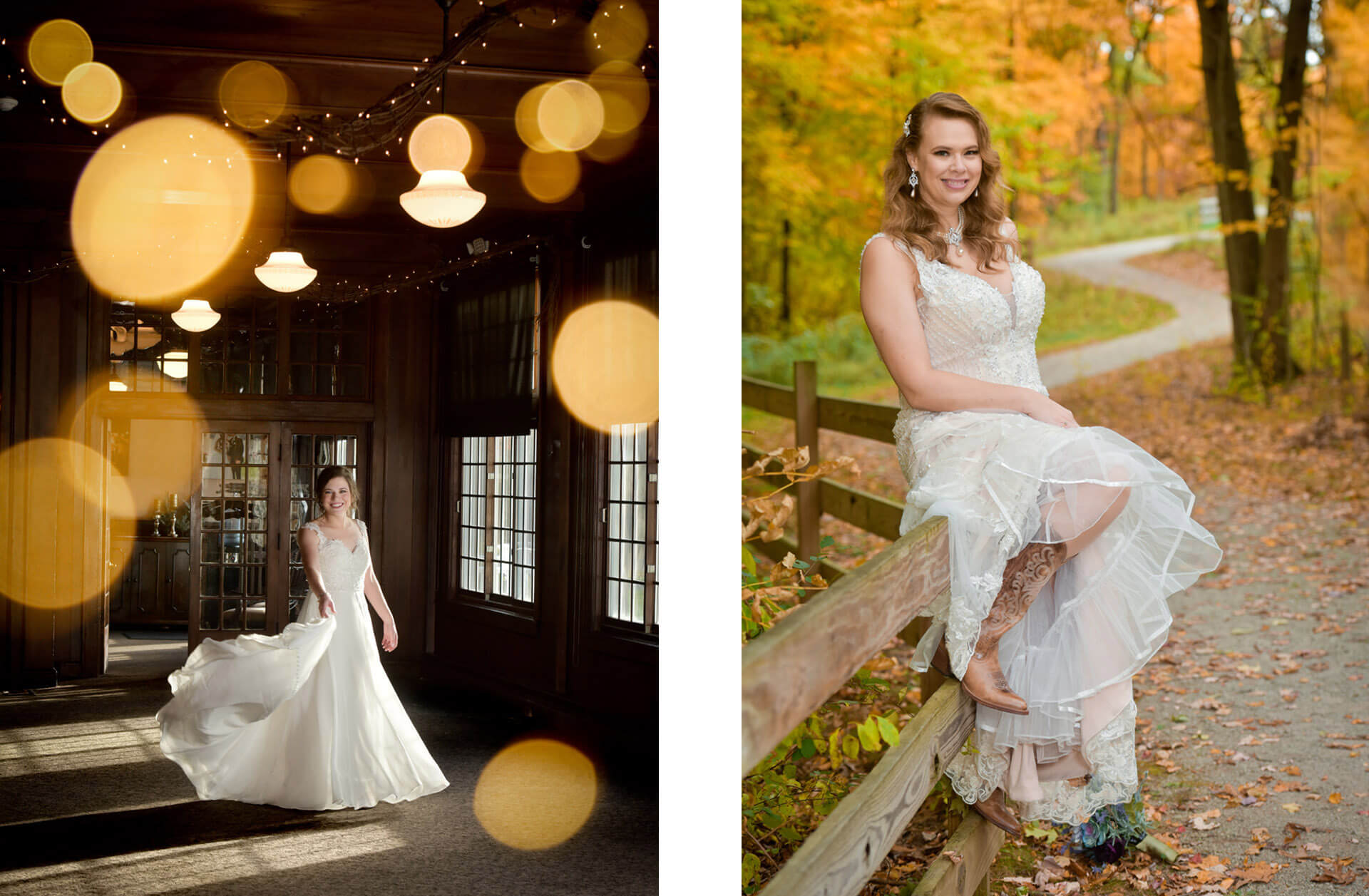 Brides pose in the fall during their weddings at Waldenwoods Resort in Howell, Michigan during the pandemic.