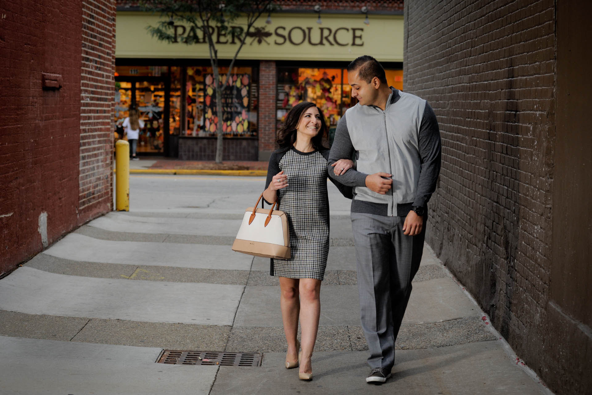 Best Detroit engagement photographer' blends classic engagement photography sessions with lots of fun like this shopping engagement session in Birmingham, Michigan.