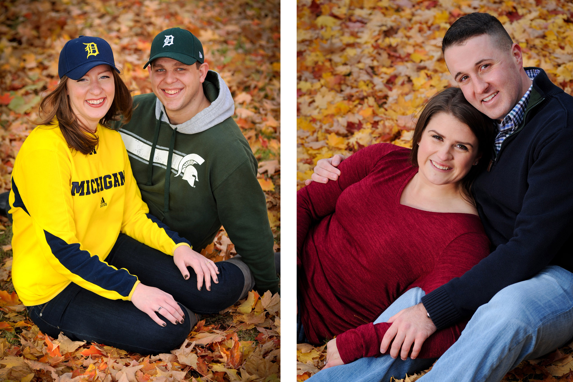 Best Detroit engagement photographer takes fun, candid engagement portraits like this engagement couple of a Michigan State and a University of Michigan couple in the fall.