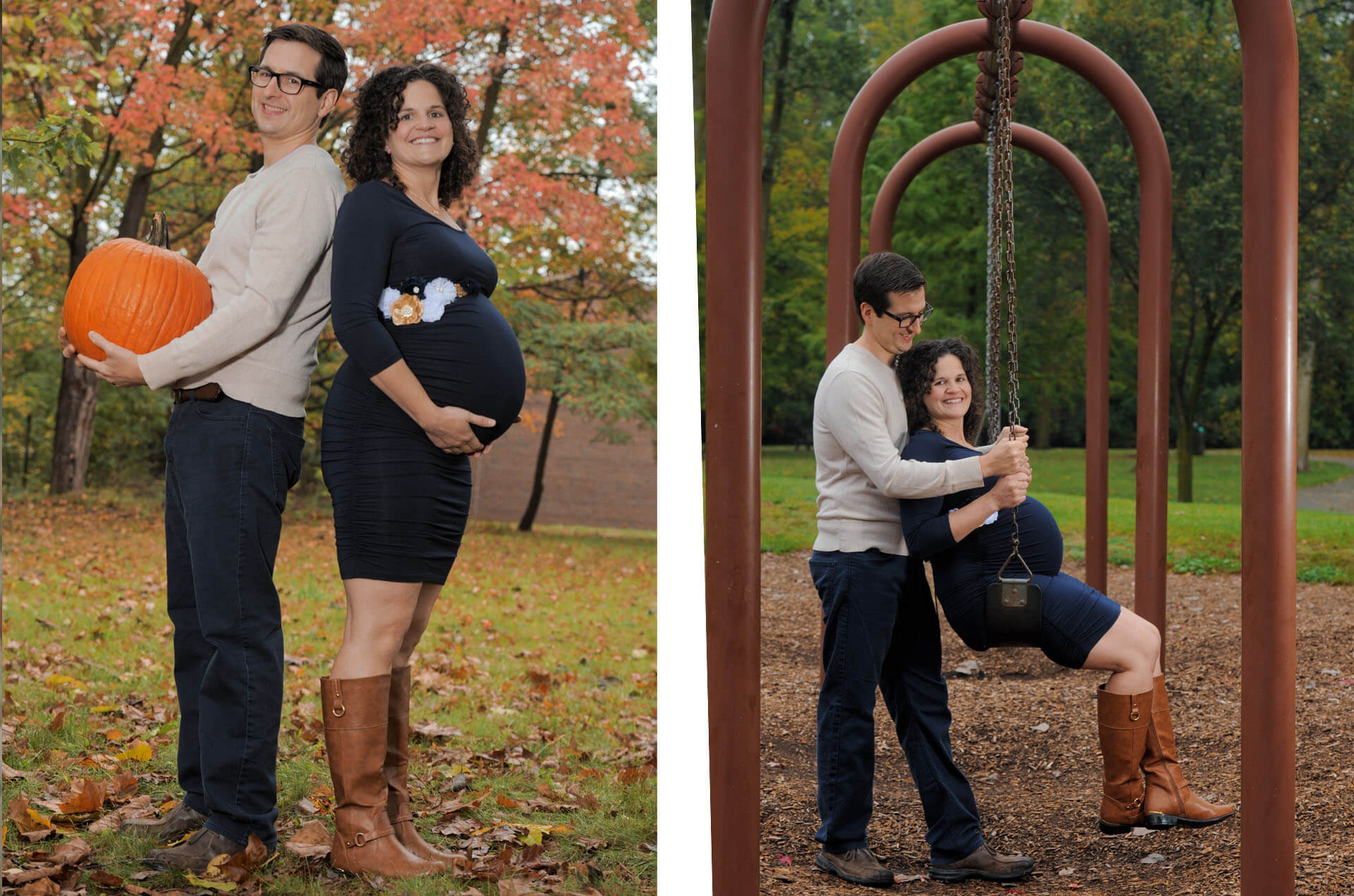 Best Detroit pregnant photographer's style of photographing fun little moments, like this husband and wife who are expecting twins and having fun coming up with twin type portraits in the metro Detroit, Michigan.