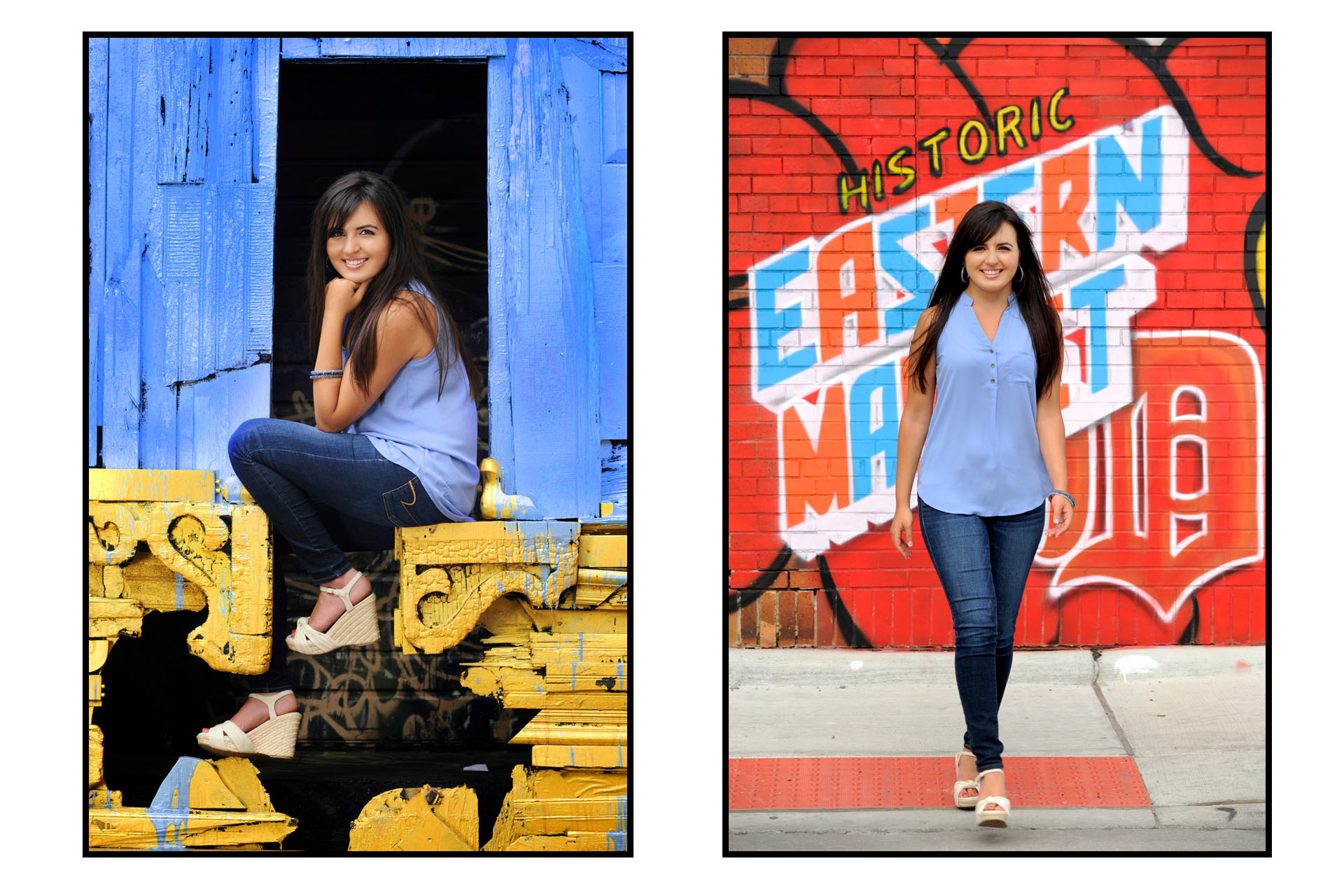 Best Detroit senior photographer's high school senior picture of a senior photography shoot at Eastern Market in downtown Detroit, Michigan.