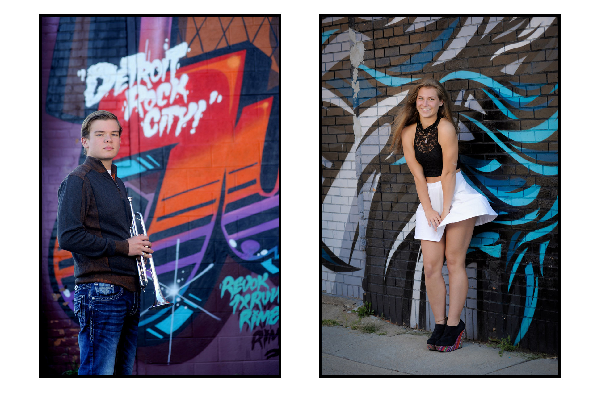 Best Detroit senior photographer's high school senior picture of graffiti art and senior photos from downtown Detroit, Michigan.