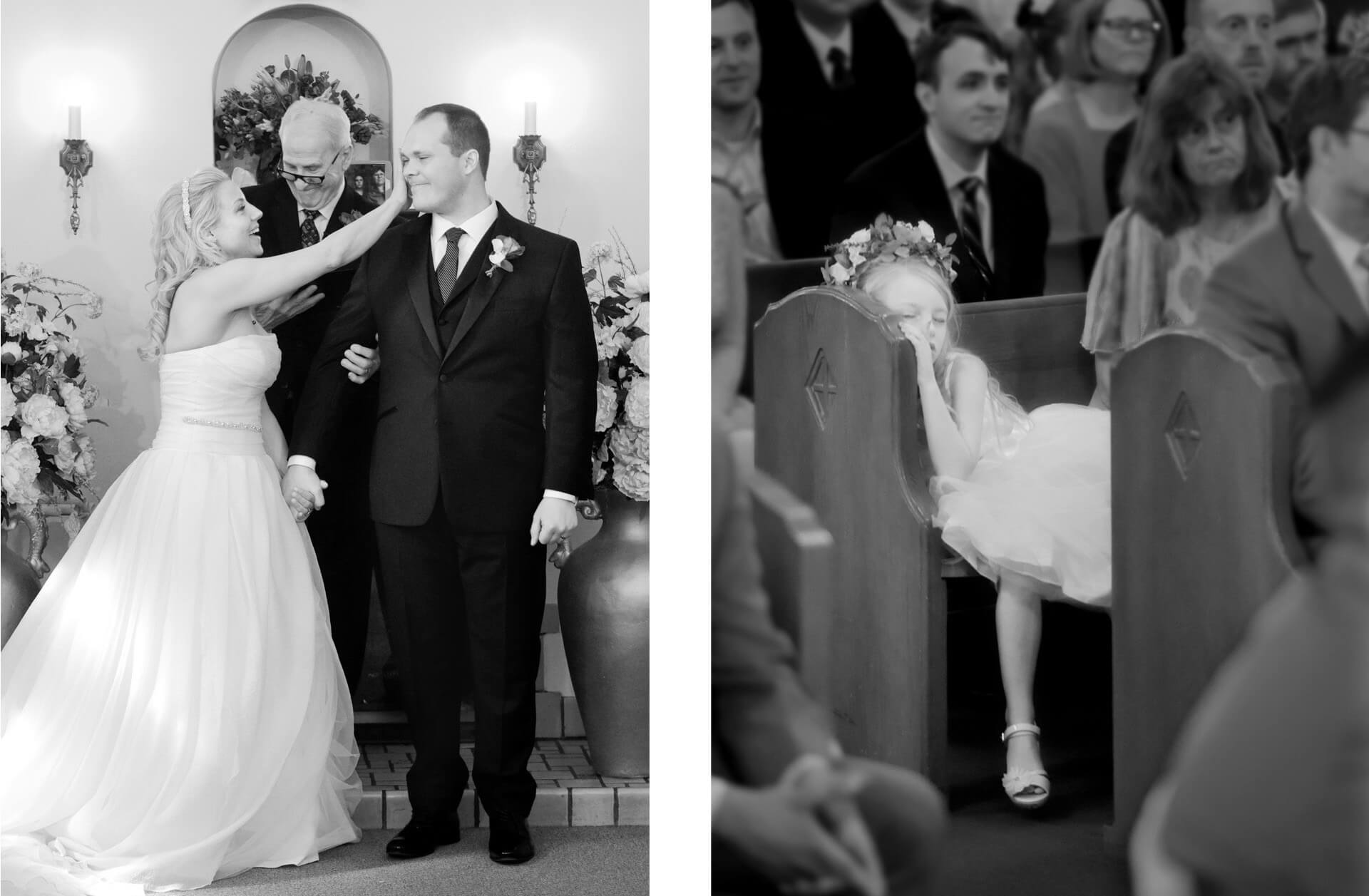 Two photos featuring Michigan wedding day moments like this bride wiping tears off her husband's cheek and a little flower girl sleeping during the ceremony.