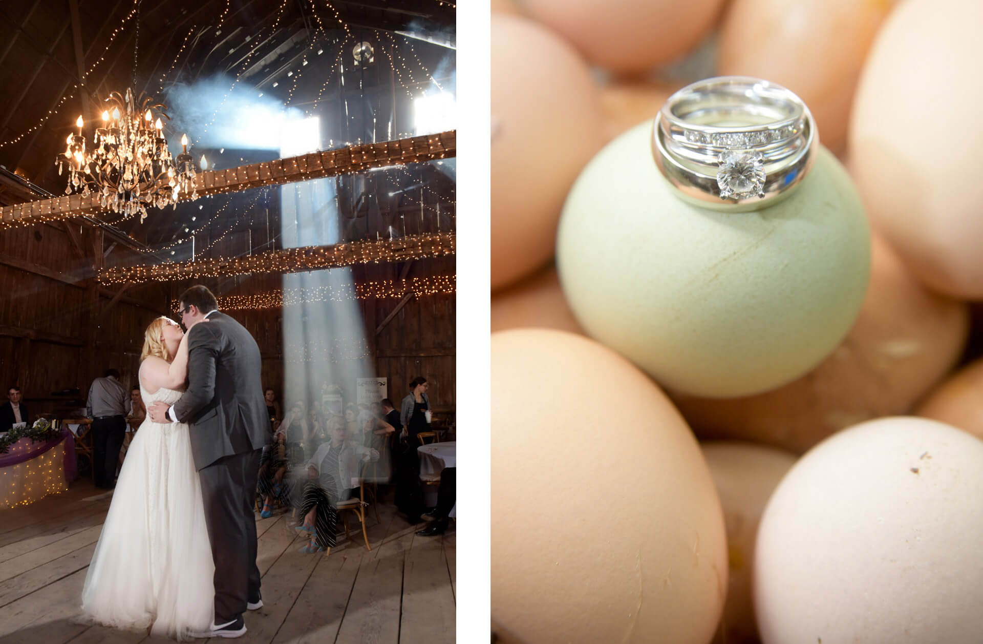 Two photos featuring Michigan wedding couples on their rustic themed weddings. One couple dances as the smoke rises through the window at Vale Royal Barn in Fenton, Michigan and the other is the wedding day rings of an egg farmer.