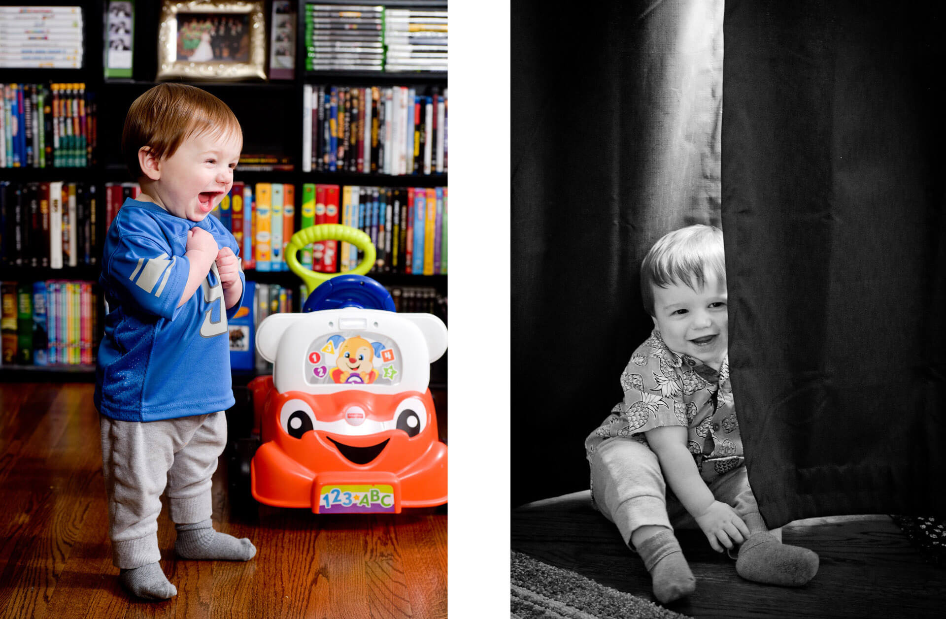 Fun, candid wedding photojournalism captures moments of this little boy turning one at his home in Troy, Michigan.