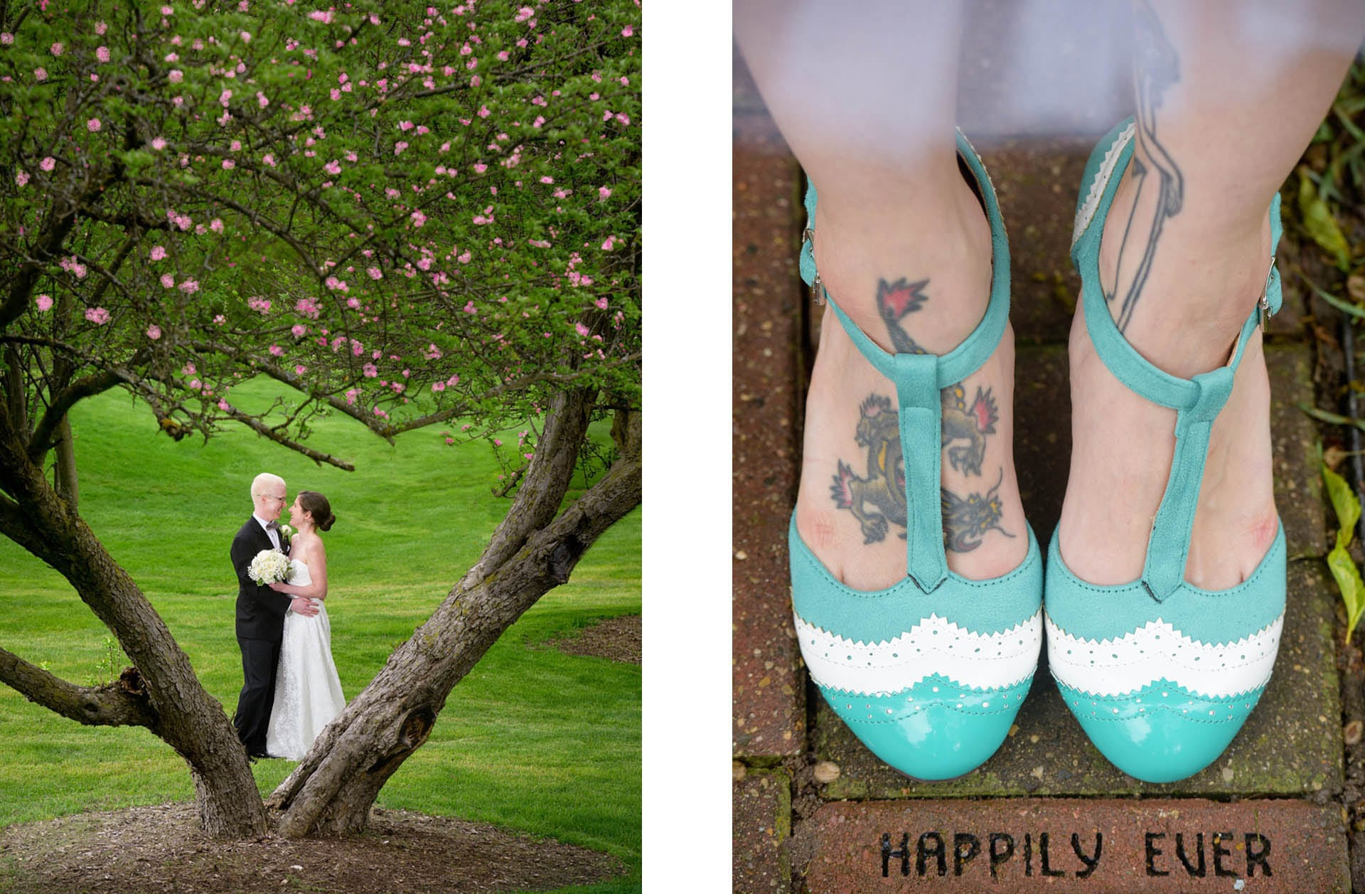 Finding wedding day art is part of my job like this couple and a heart shaped tree at the Stonebridge Golf Club in Ann Arbor and a bride with her vintage wedding day shoes.