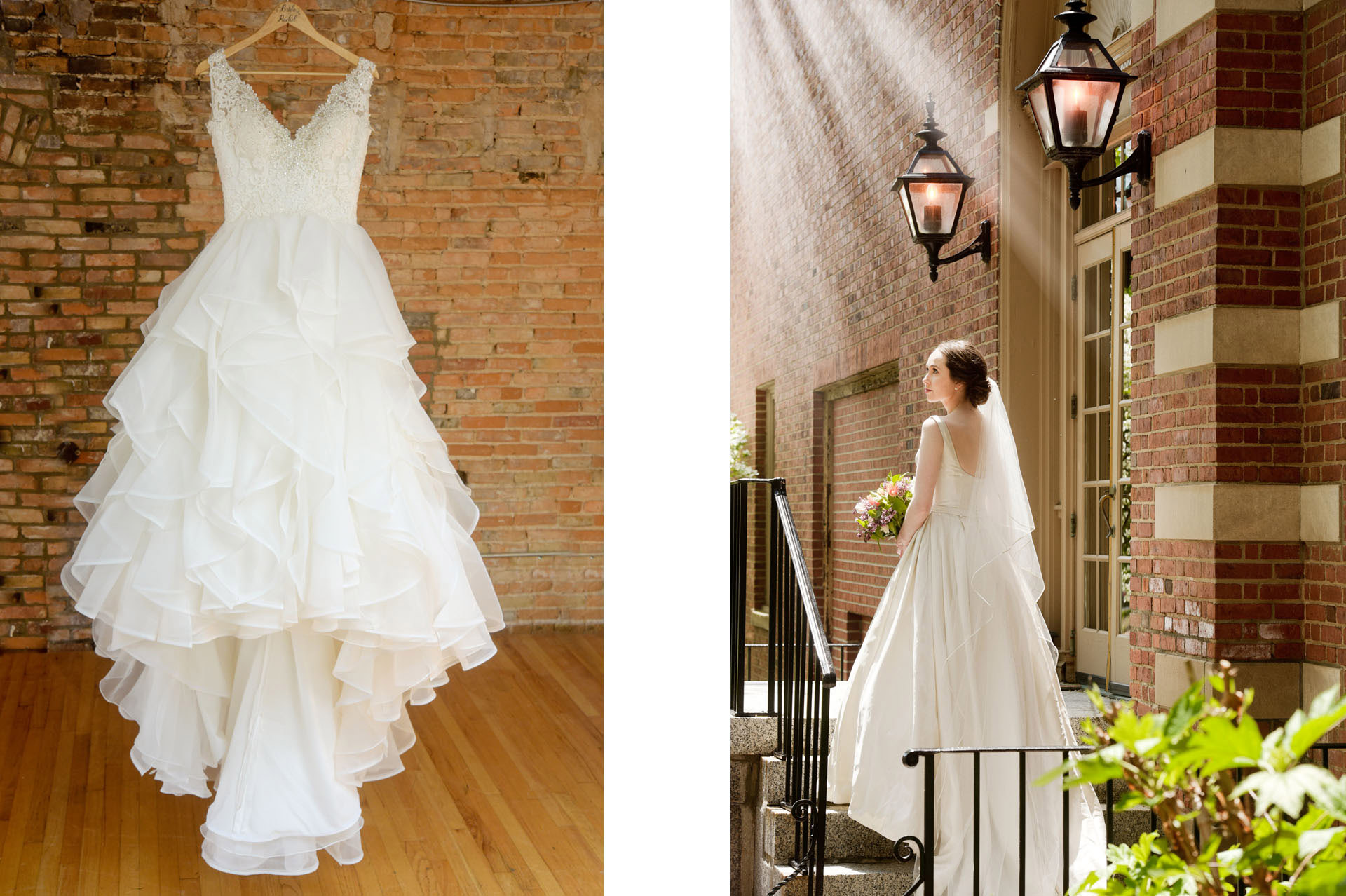 Creating wedding day art with the details like this wedding dress along with a beautifully lit bridal portrait taken at the historic Dearborn Inn in Dearborn, Michigan.