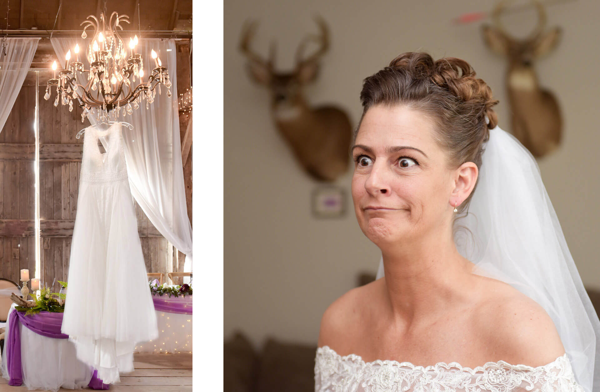 Two photos featuring Michigan weddings. Wedding dress on display at the Vale Royal Barn in Fenton, MI and the other of a bride talking to her sisters at home with two deer heads behind her.