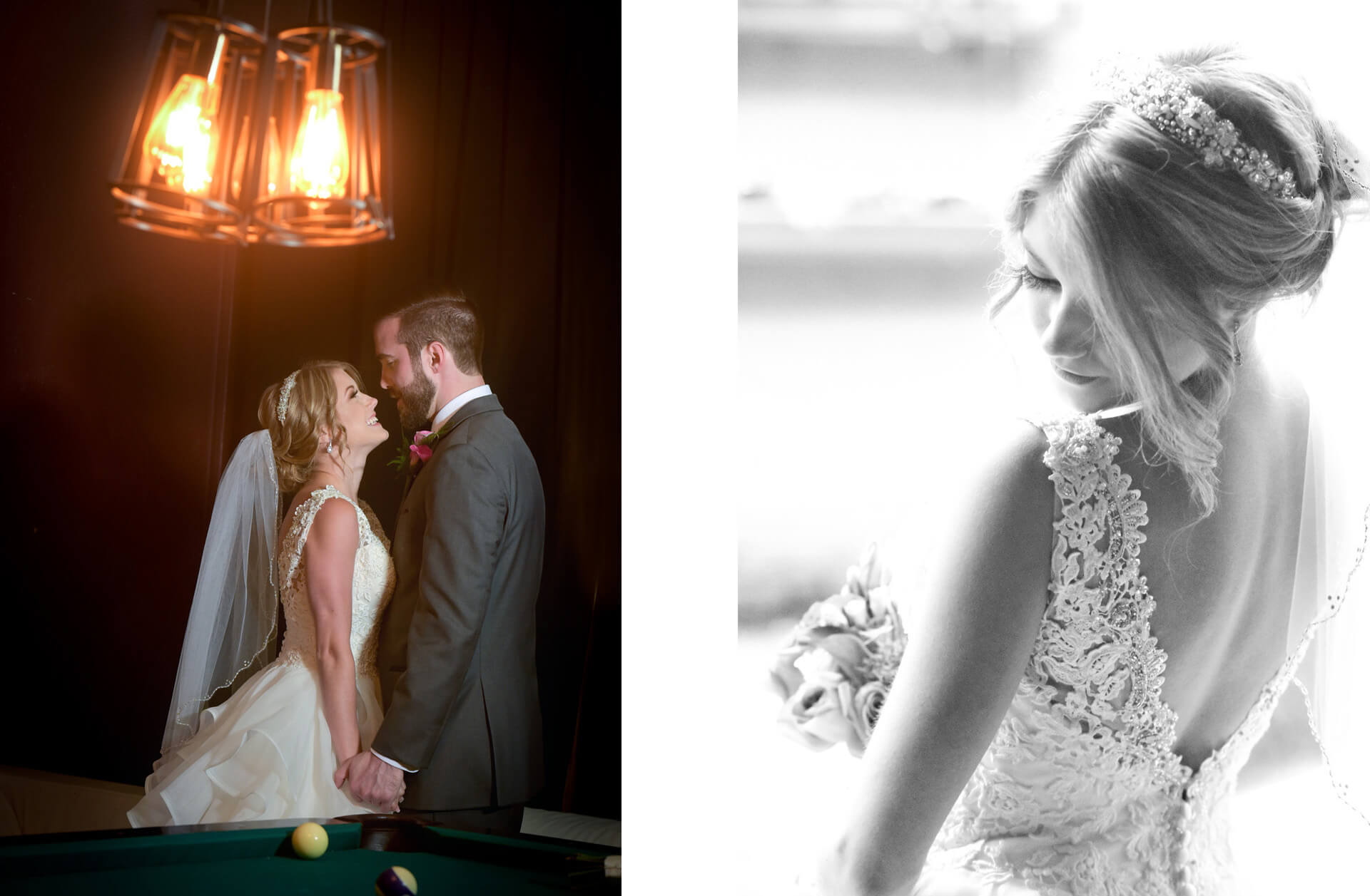 Two photos featuring Michigan wedding couple during their Crofoot wedding in Pontiac, Michigan where all the photos took place indoors.