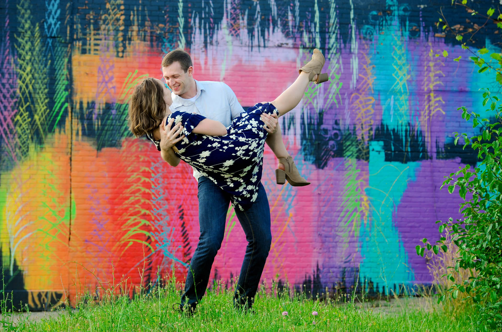 Best Detroit lifestyles photographer uses what's available on the scene to create unique kids and couples photos like this photo shoot at a local street art and murals in Detroit, Michigan.