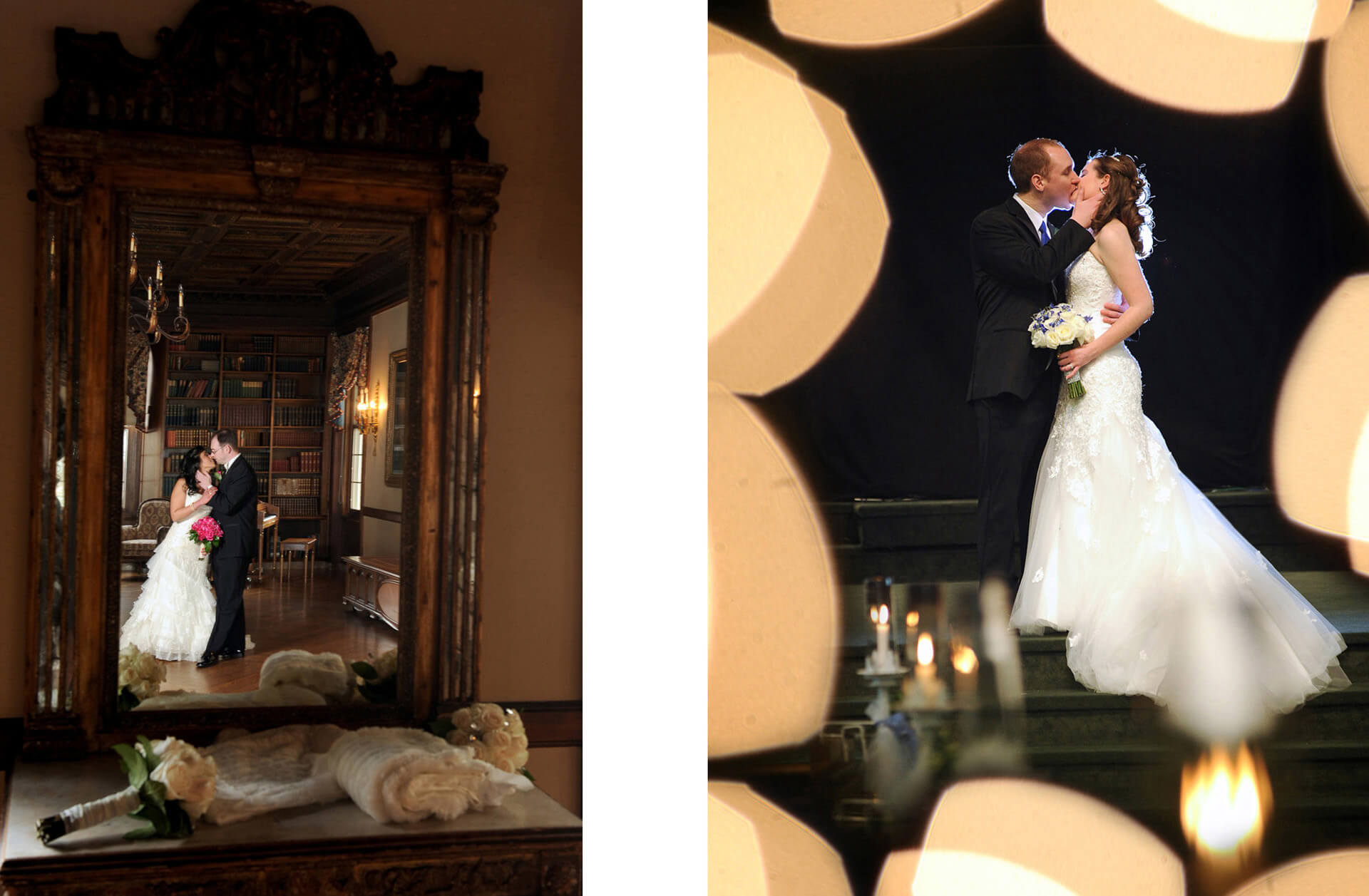 michigan wedding photographer photographs a couple's first kiss during their detroit wedding ceremony.