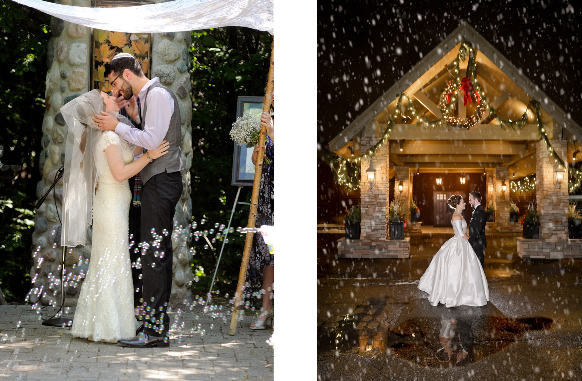 michigan wedding photographer photographs a Jewish couple kissing under the chuppah amidst bubbles at their Troy Wedding along with a close up photo of rings.