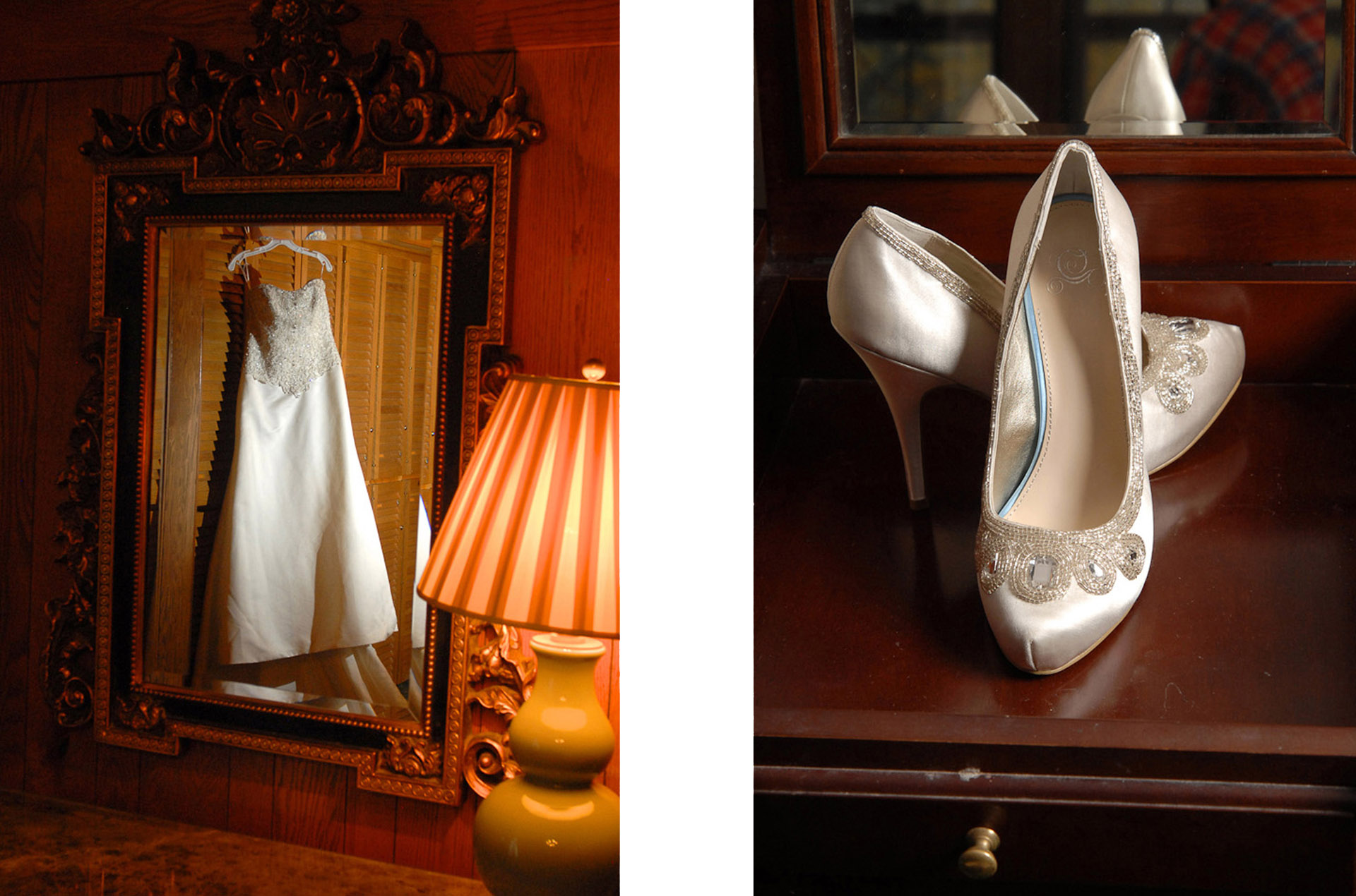 michigan wedding photographer photographs a wedding dress and wedding shoes as part of her wedding day coverage.