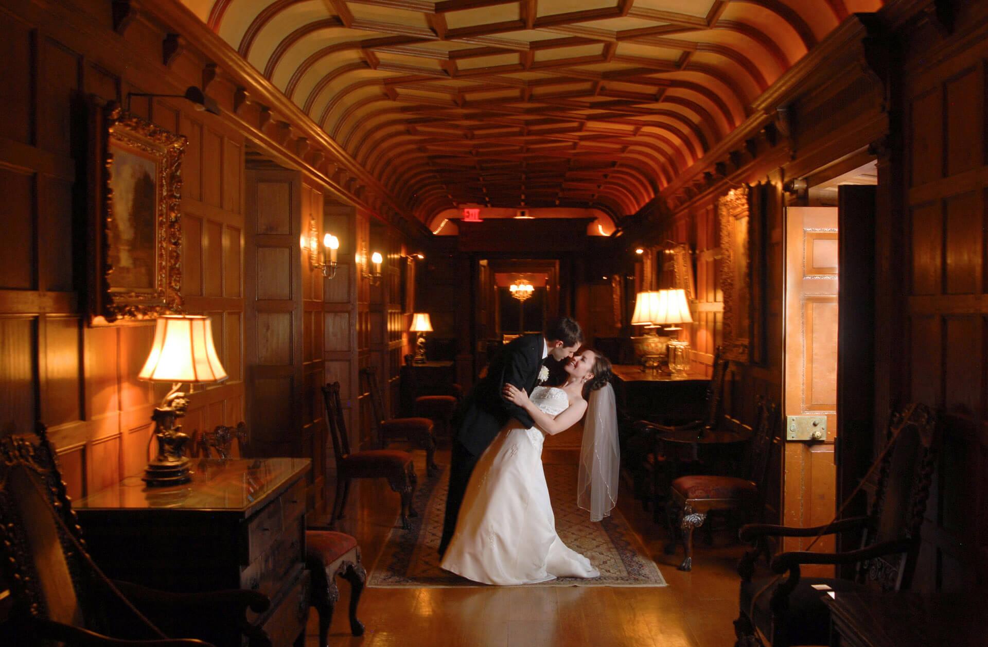michigan wedding photographer shoot a couple at Meadowbrook hall during a wedding.