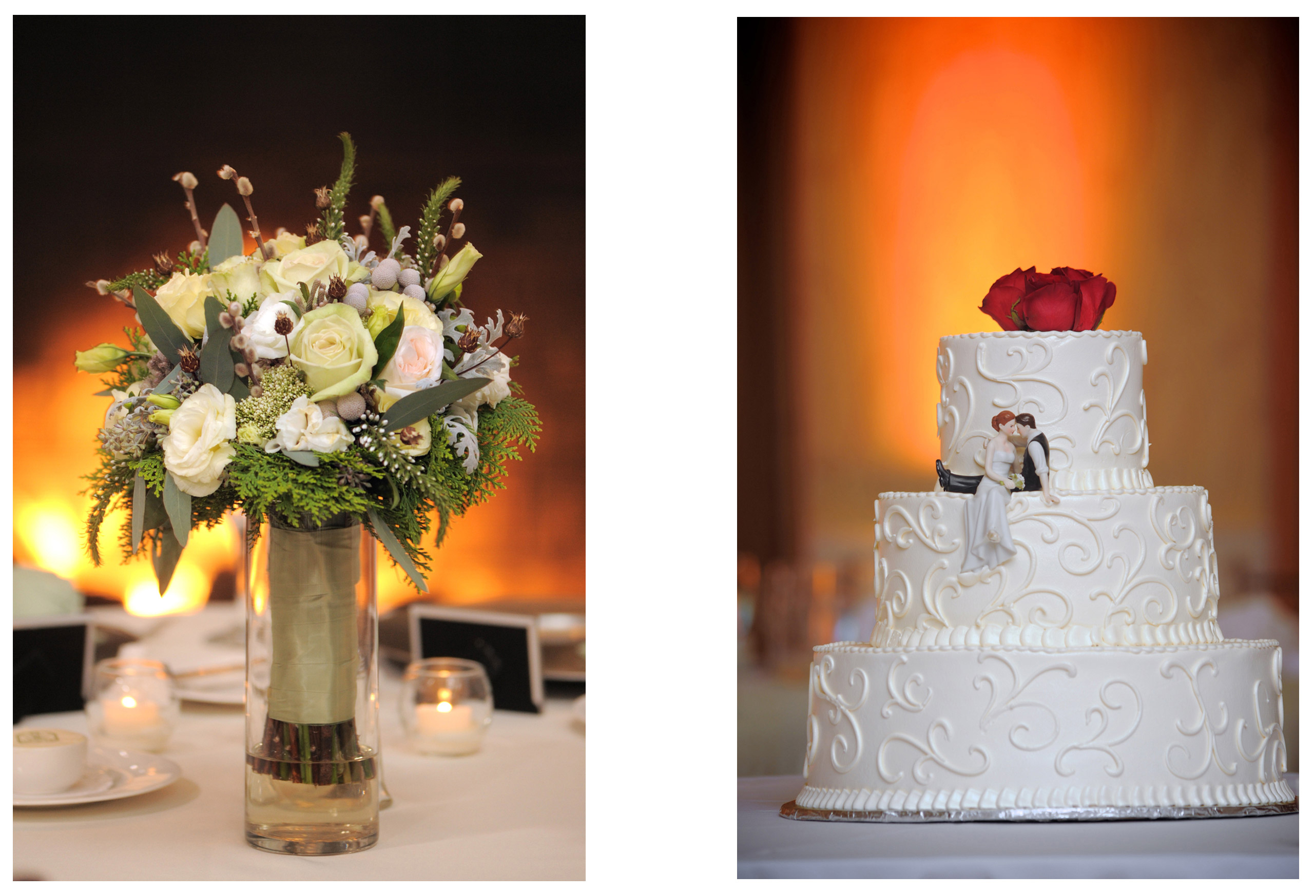 michigan wedding photographer takes detail photos of cakes and flowers at weddings.