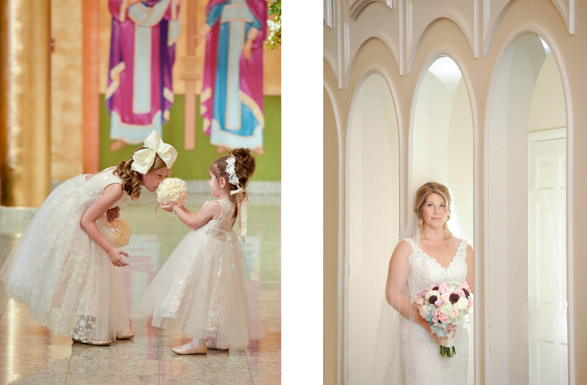 Epic Wedding portrait showing the flower girls sniffing each other's bouquets at a Macedonian Church in Sterling Heights, Michigan.