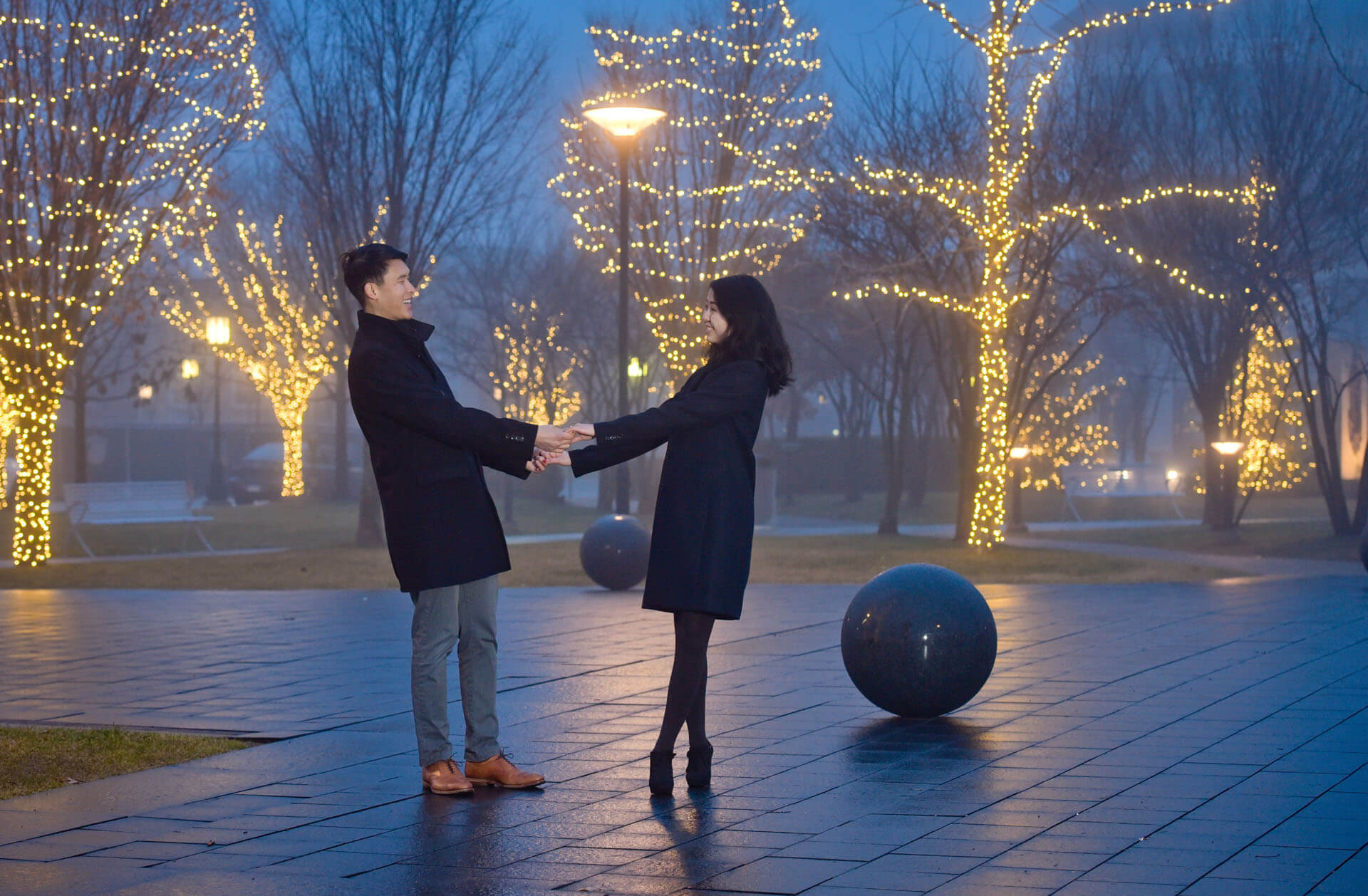 Epic Wedding portrait showing an engaged couple on a misty night in Birmingham, Michigan after their proposal.