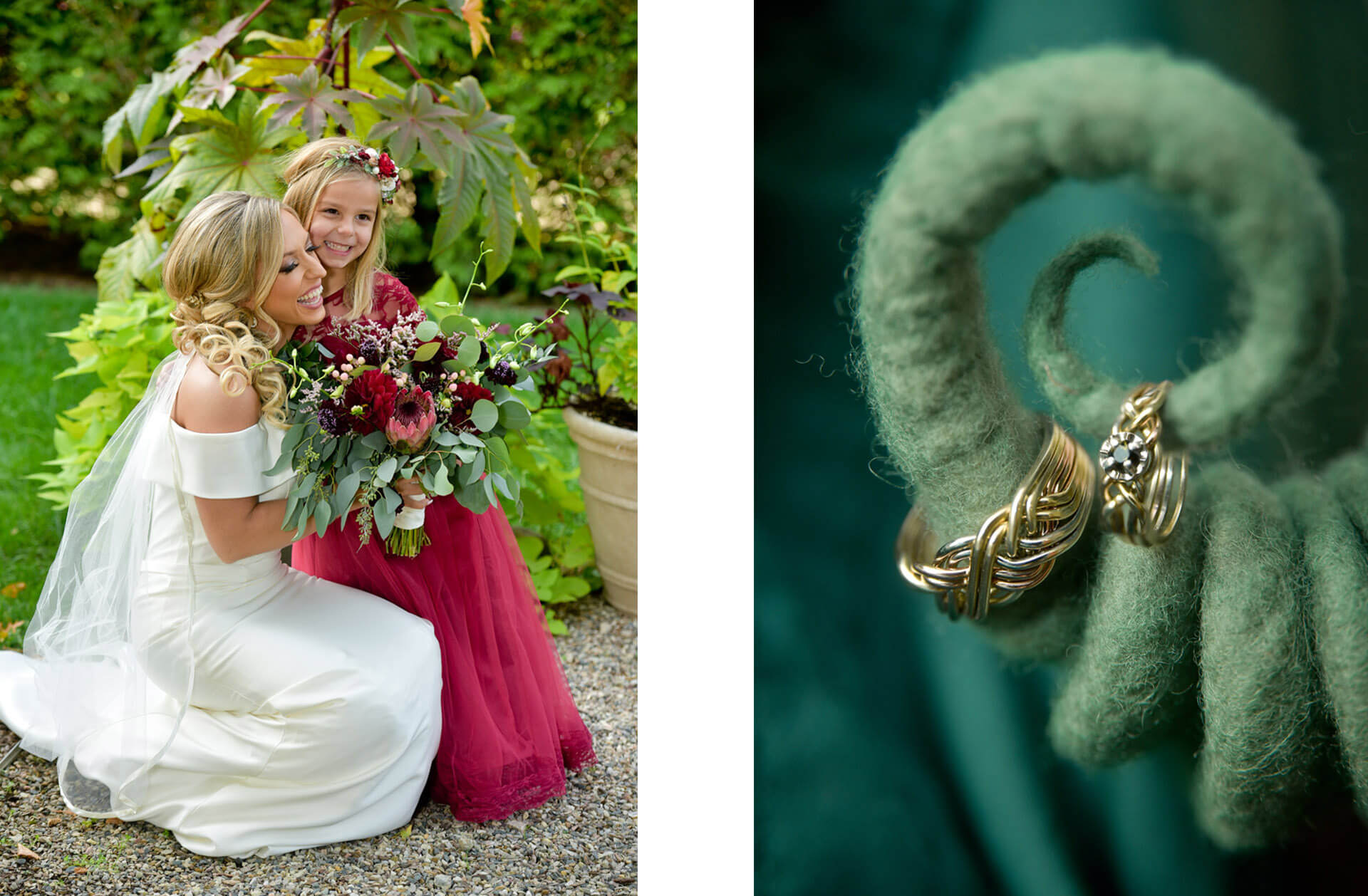 Fun, candid portraits and detail images like this one of rings hanging from a felt wizard hat from a wedding outside Detroit, Michigan!