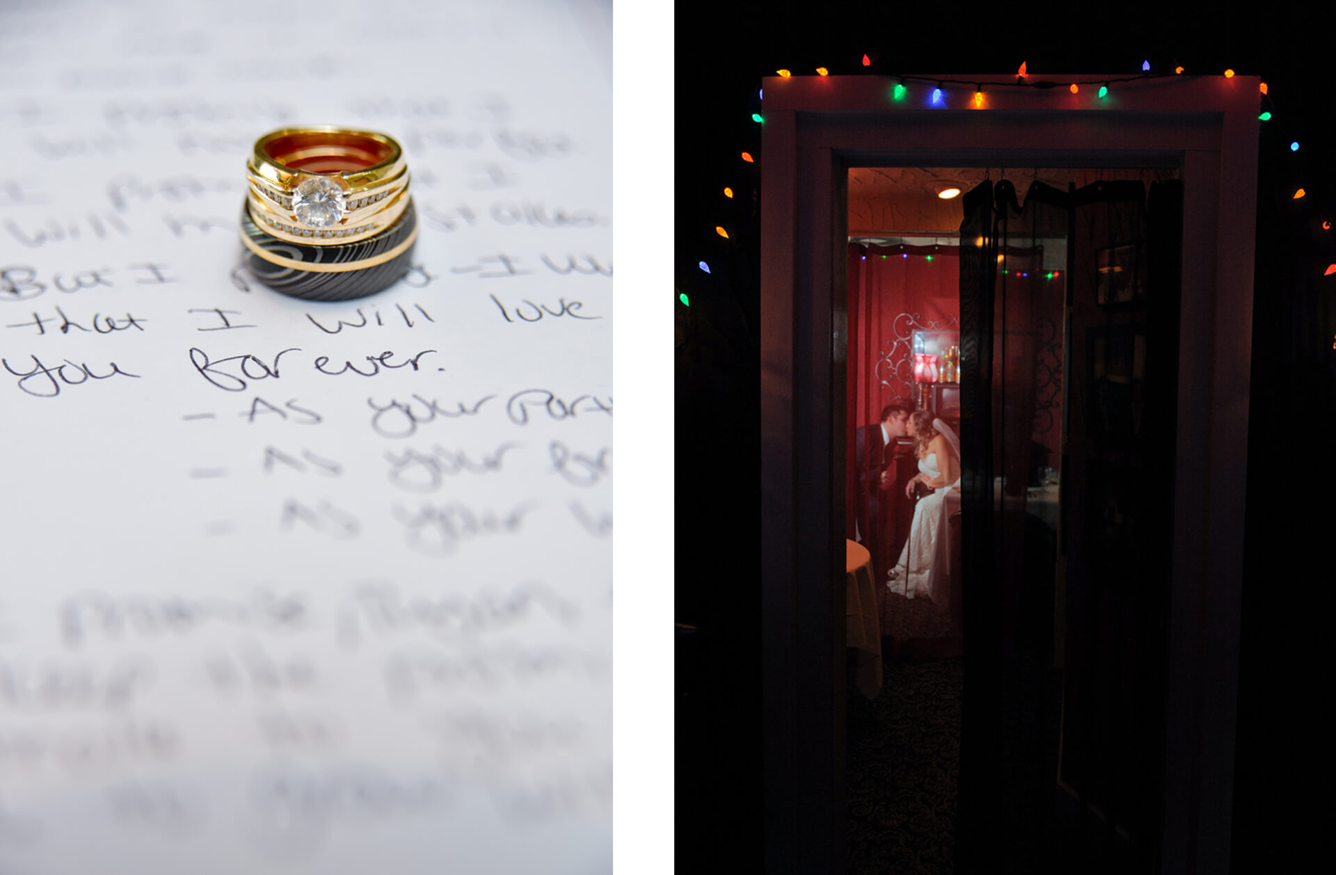 Epic Wedding portrait showing detail photos of rings and a couple snuggling in a private room at Lelli's in Farmington, Michigan.