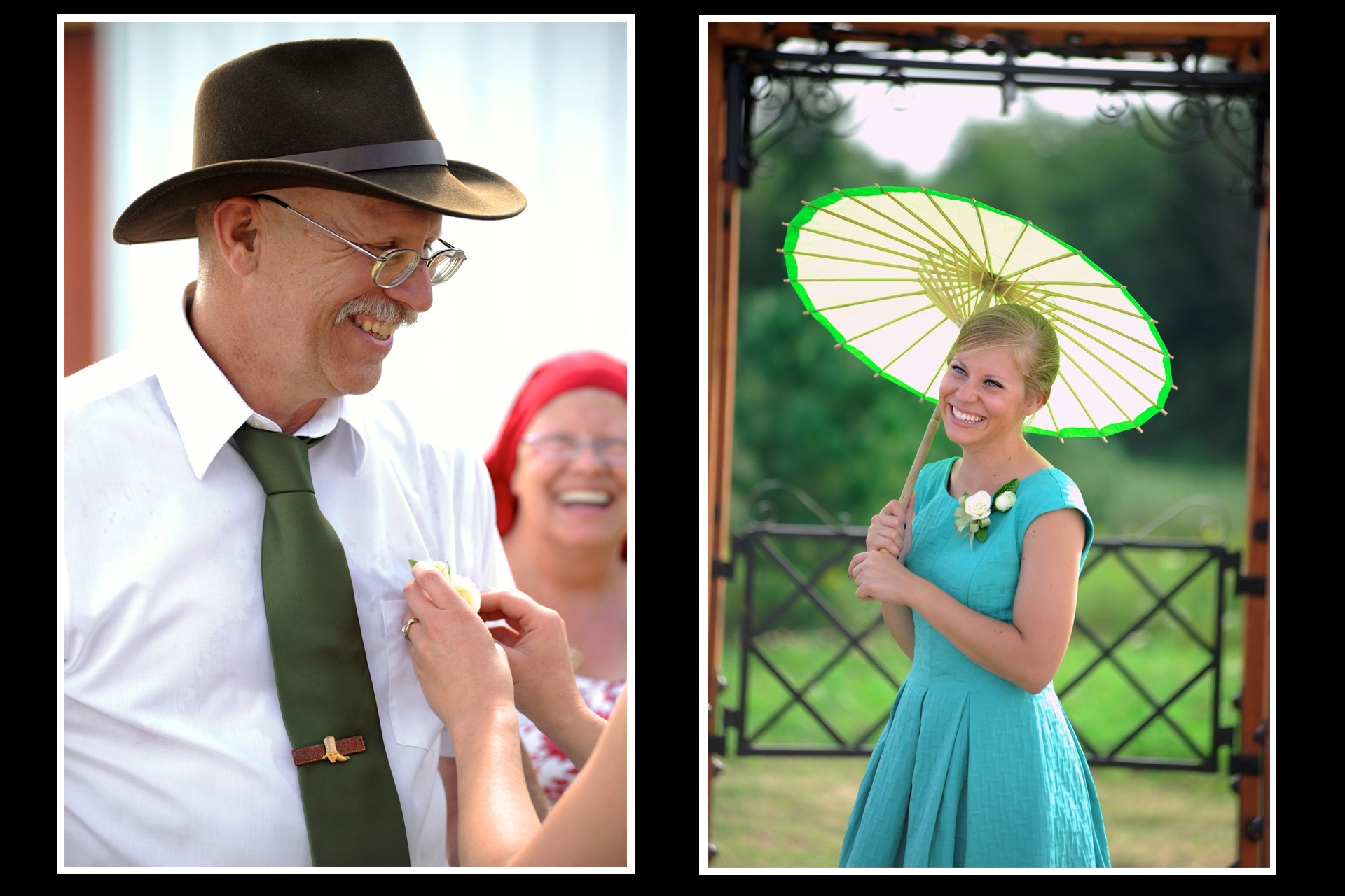 A farm wedding in Michigan photographer features a guest putting on the father of the groom's flower and the bridesmaid waiting in the summer heat for the beginning of the Michigan country wedding.