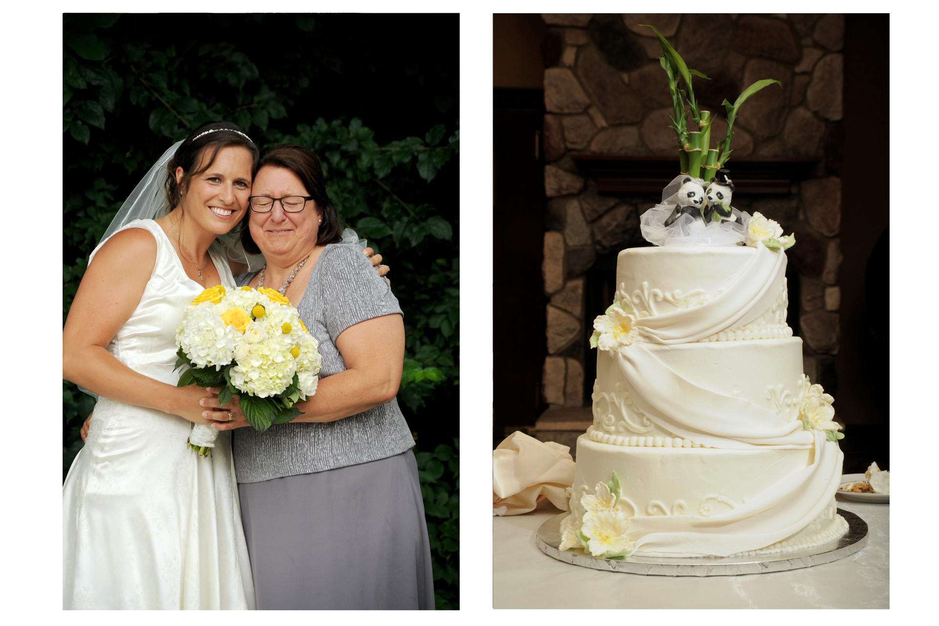 Pine Trace Golf Club wedding photographer's photo of the cake and the bride with her mother at the Pine Trace Golf Club in Troy and Rochester, Michigan.