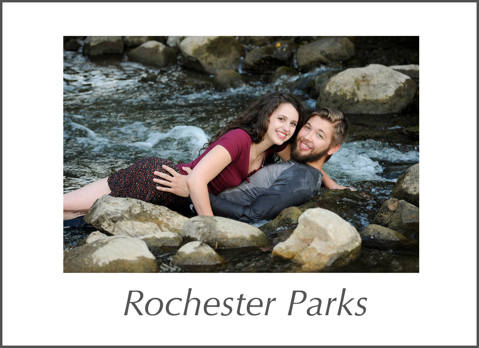 Michigan wedding photojournalist uses park and downtown Rochester in south east Michigan to shoot fun, candid style outdoor portrait sessions