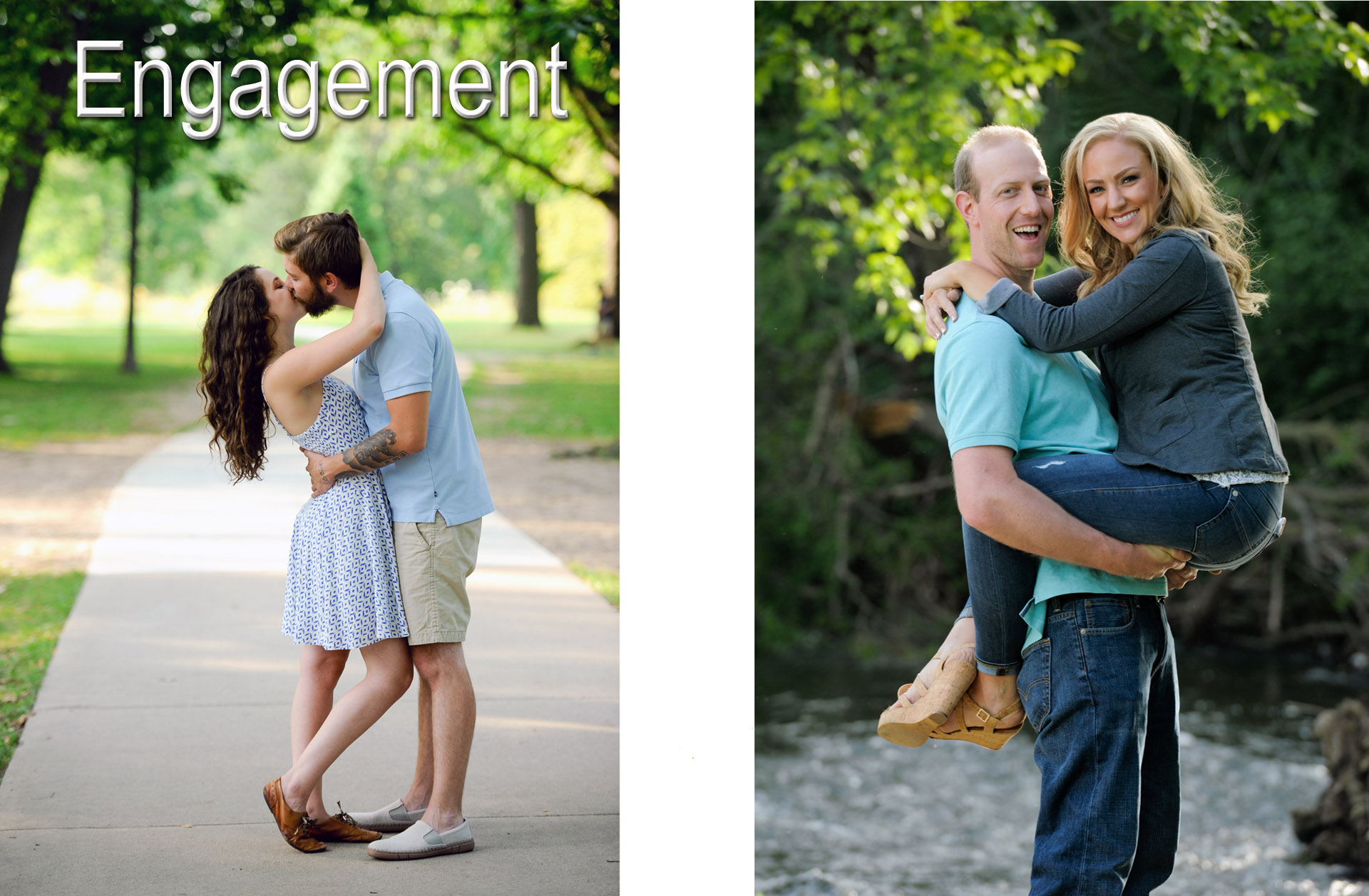 Two Metro Detroit Michigan couples frolic in area parks for their engagement sessions.