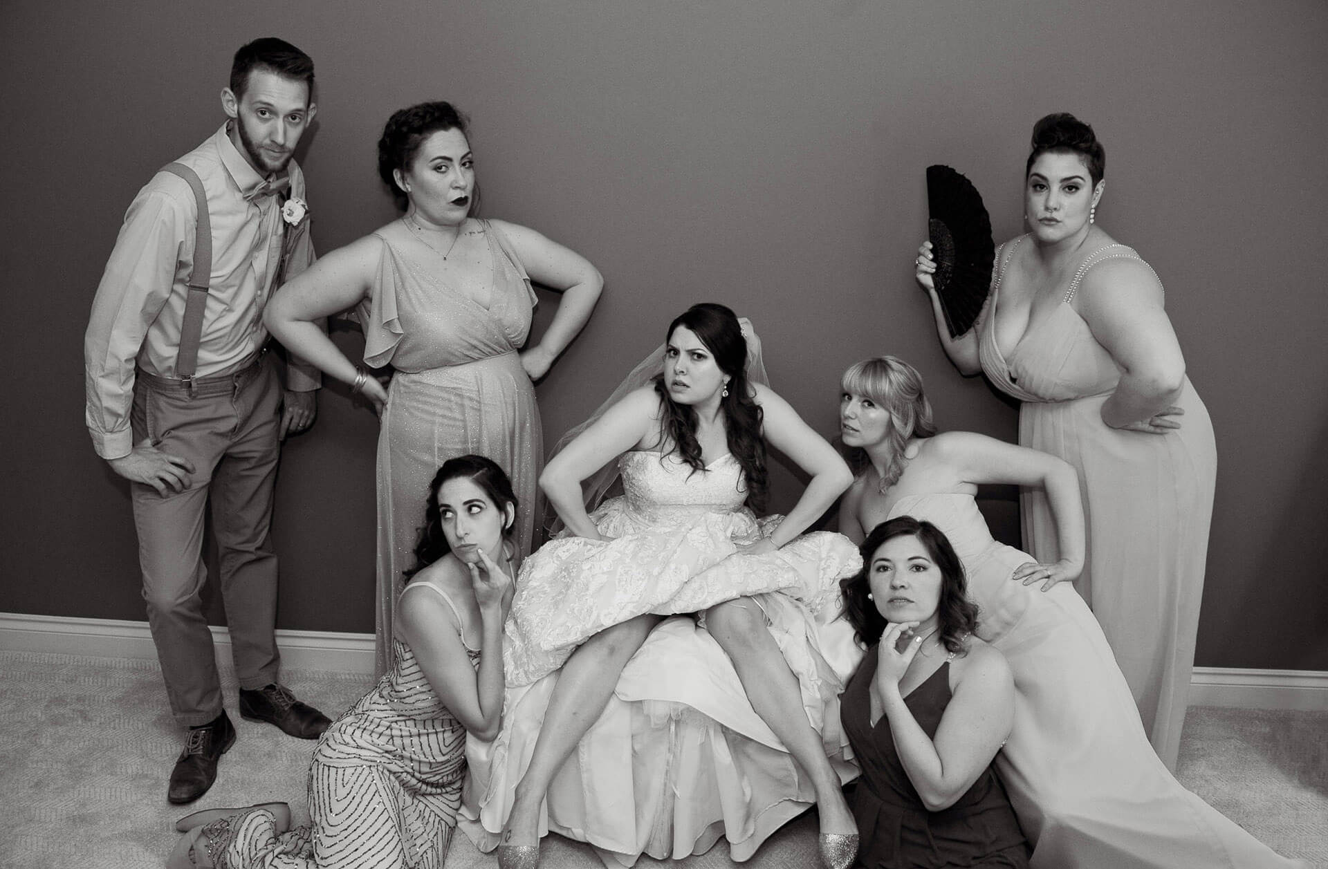 This New York based improv troupe couldn't help mugging for the photographer for this funny bridesmaids photo in the metro Detroit, Michigan area.
