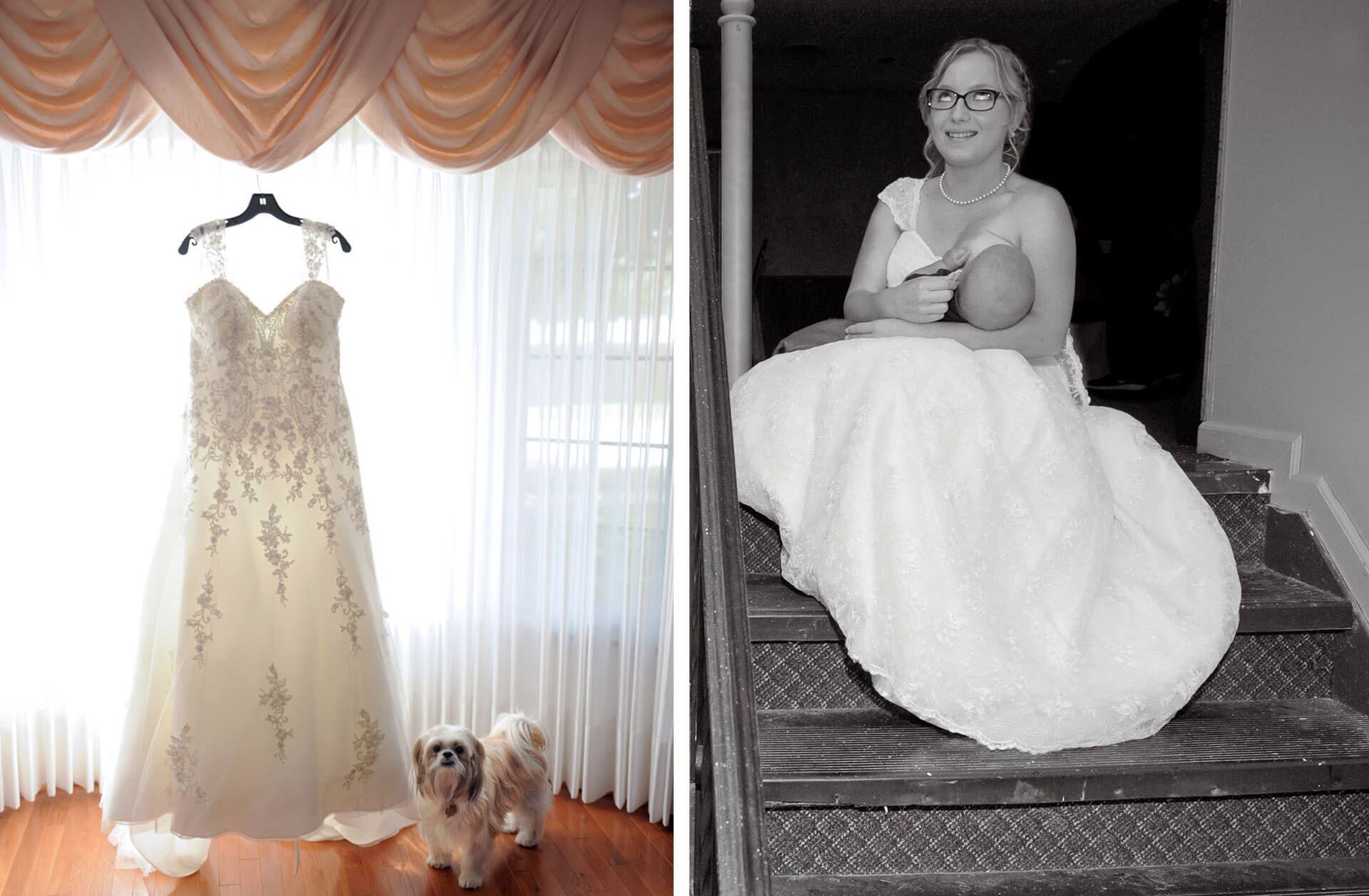 Capturing fleeting moments during weddings is my forte as an affordable wedding photojournalist. These two photos of a dog wandering into the dress photo and a bride nursing her baby on the back steps during her wedding reception are two examples of wedding photojournalism.