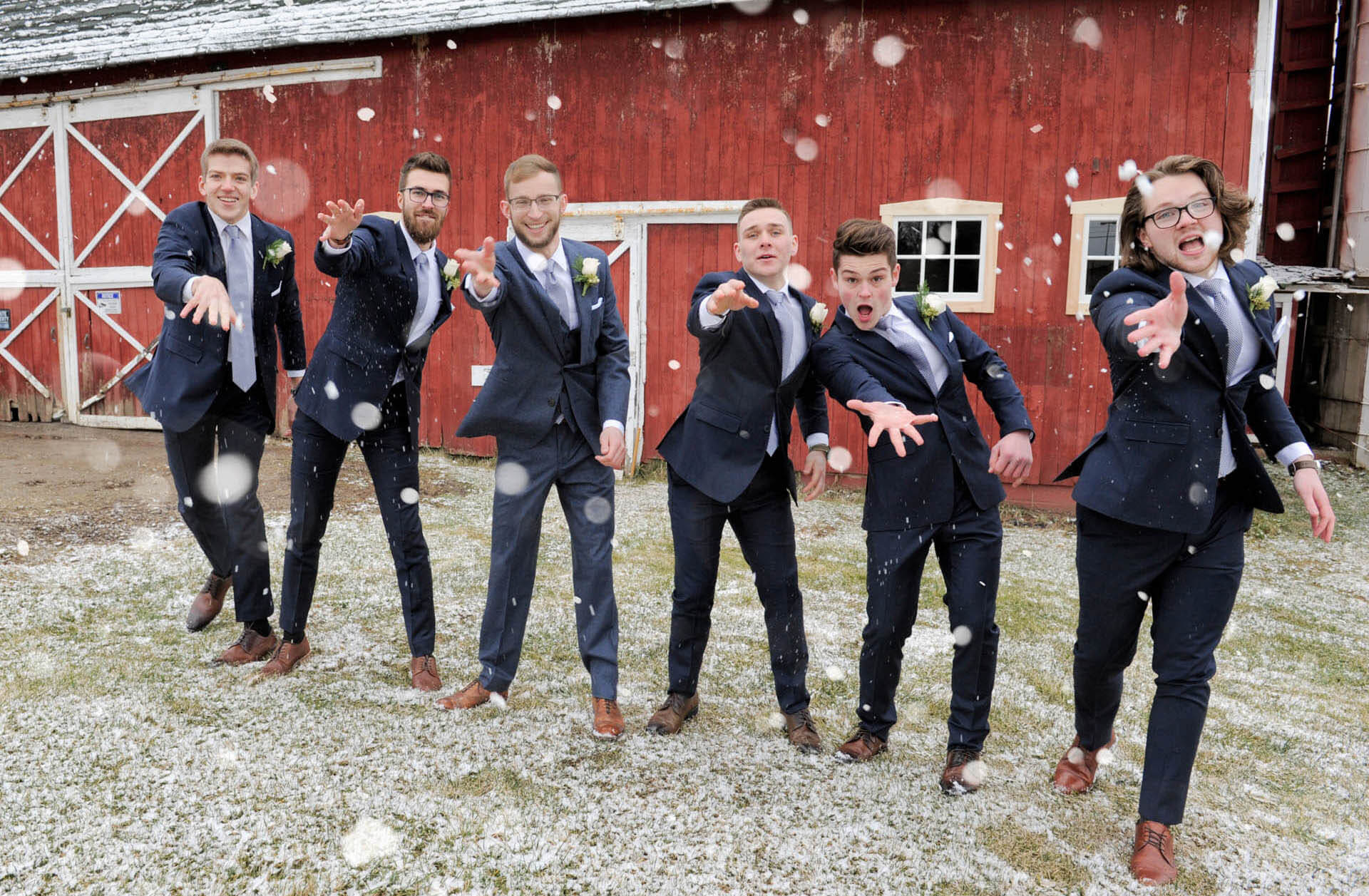 The groomsmen toss some snow at the wedding photographer before the groom's wedding in Rochester, Michigan.