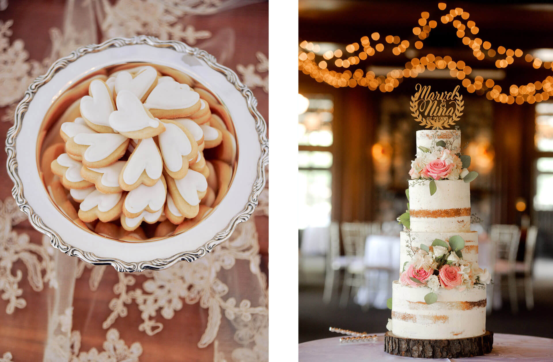 Famous Food Network star baker, Michelle with her wedding cake and ginger cookies during an elegant rustic wedding for the Holly Hotel in Holly, Michigan.