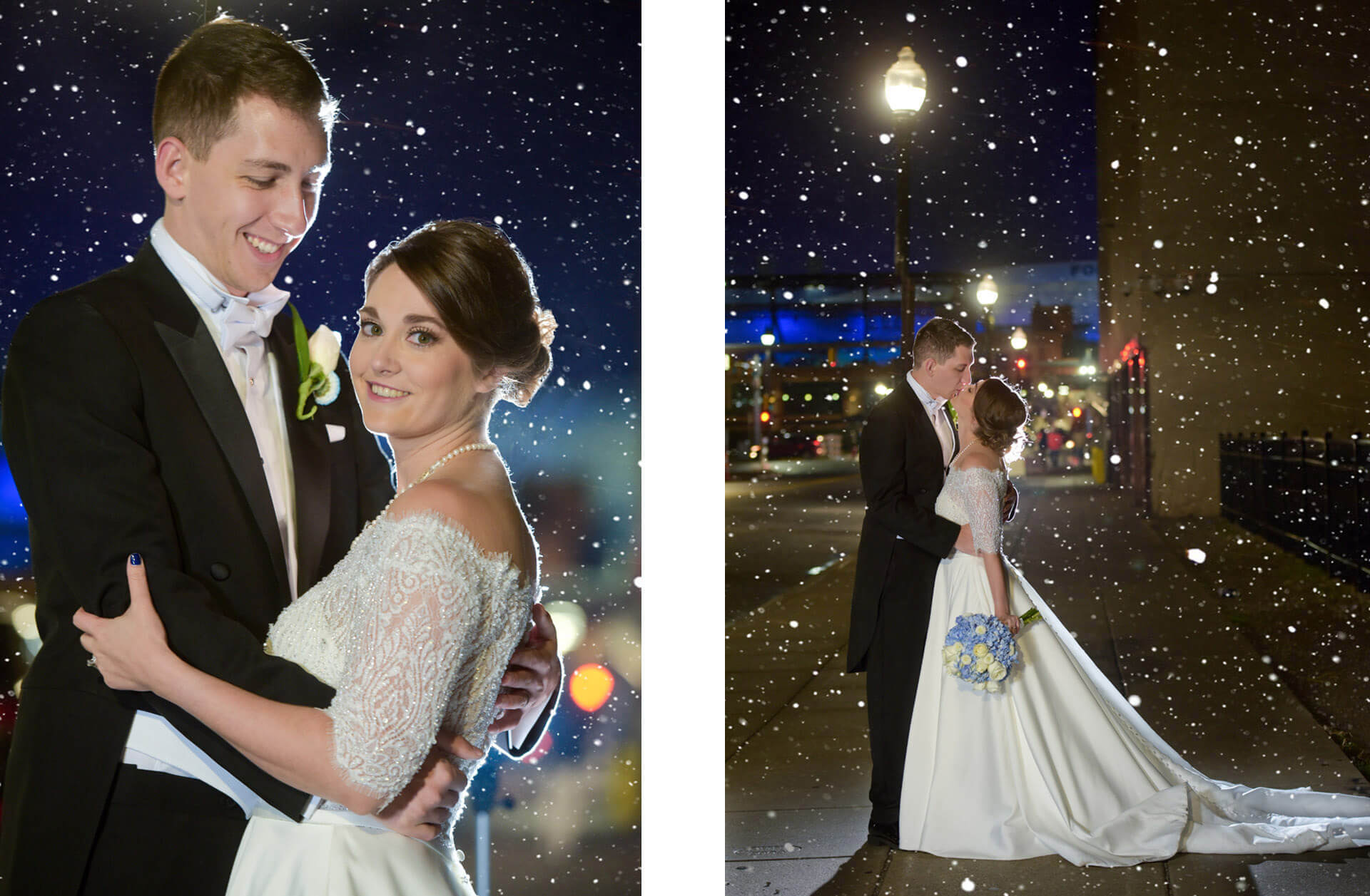 A winter wedding downtown Detroit, Michigan makes for a cool, winter wedding portrait.