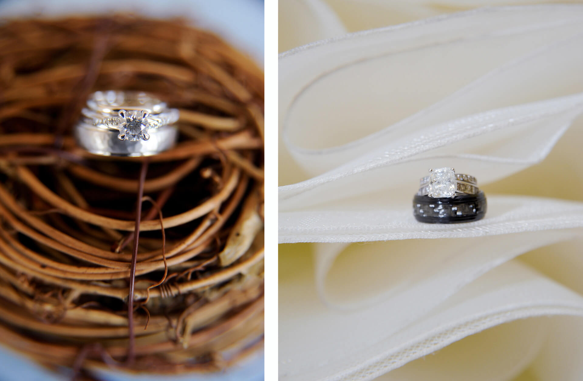 It's always fun to showcase wedding and engagement rings with found items on the day of the wedding, like these two rings from weddings in Metro Detroit, Michigan.