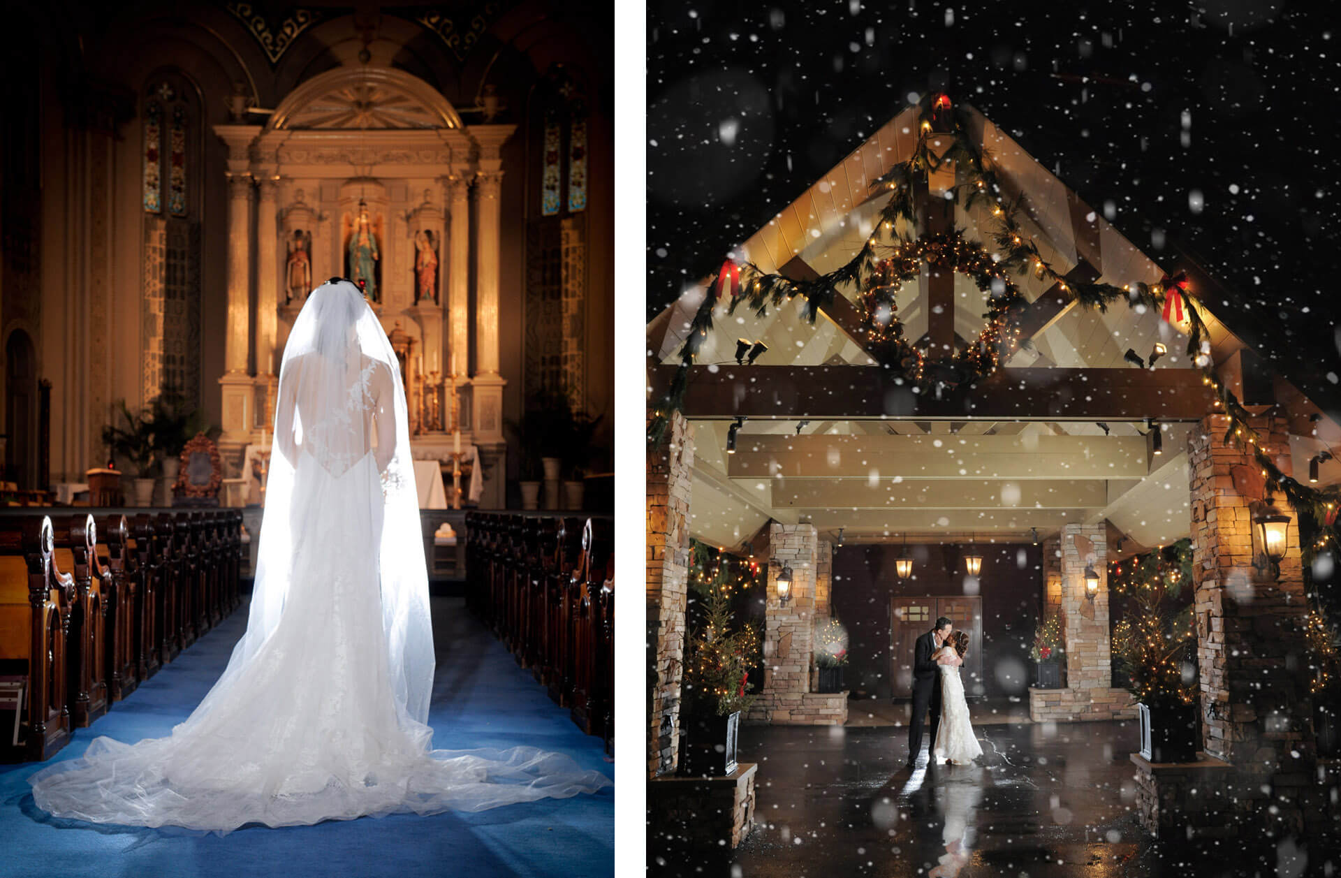 A dramatic bridal portrait taken in a Catholic church downtown Detroit and a couple in the winter snow at the Iroquois Club in Bloomfield Hills during their wedding reception.