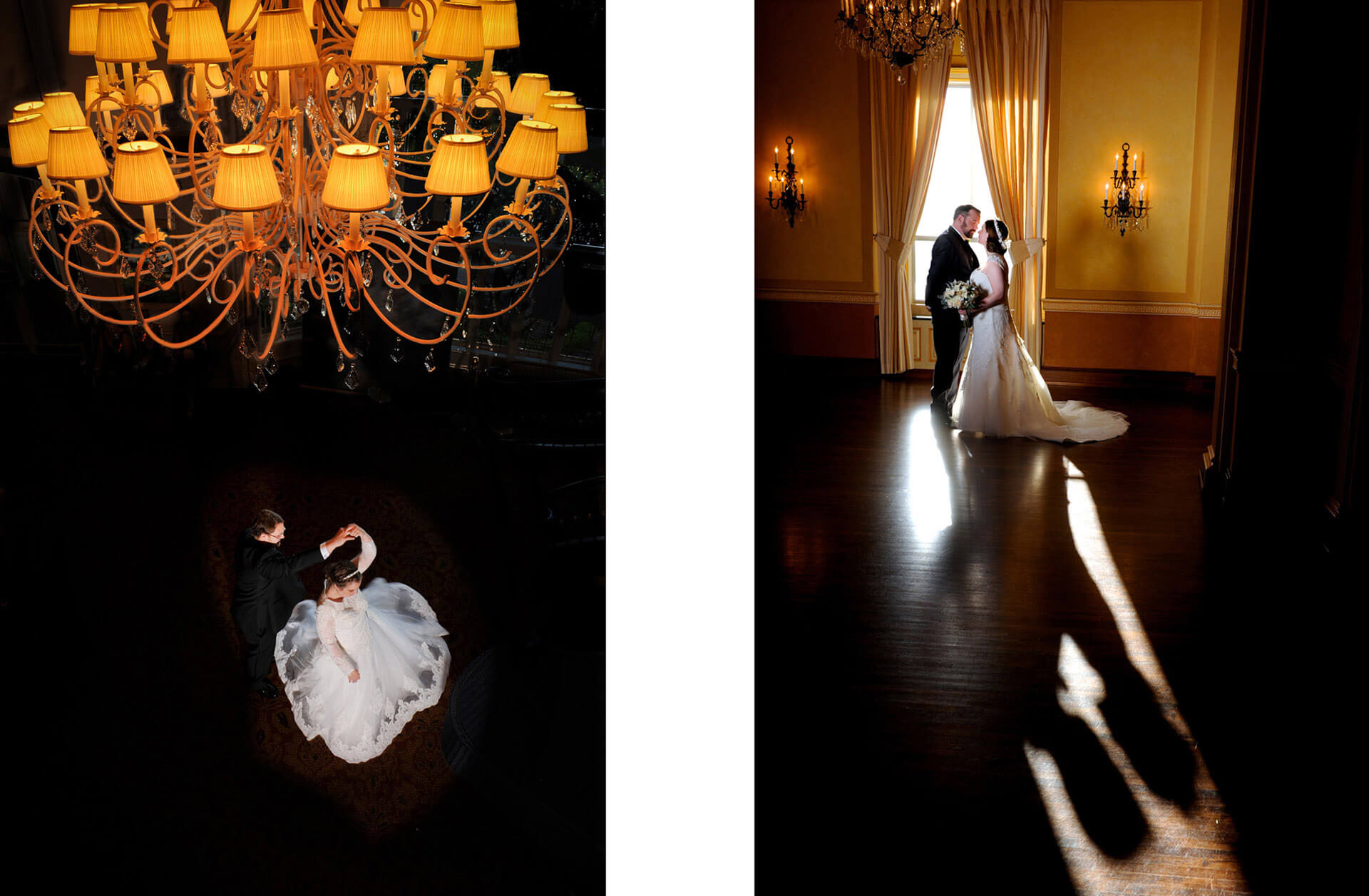 Two photos featuring Michigan wedding couples showcasing fine art and creativity for their wedding photos taken by a wedding photojournalist vote best Michigan wedding photographer 10 years in a row.