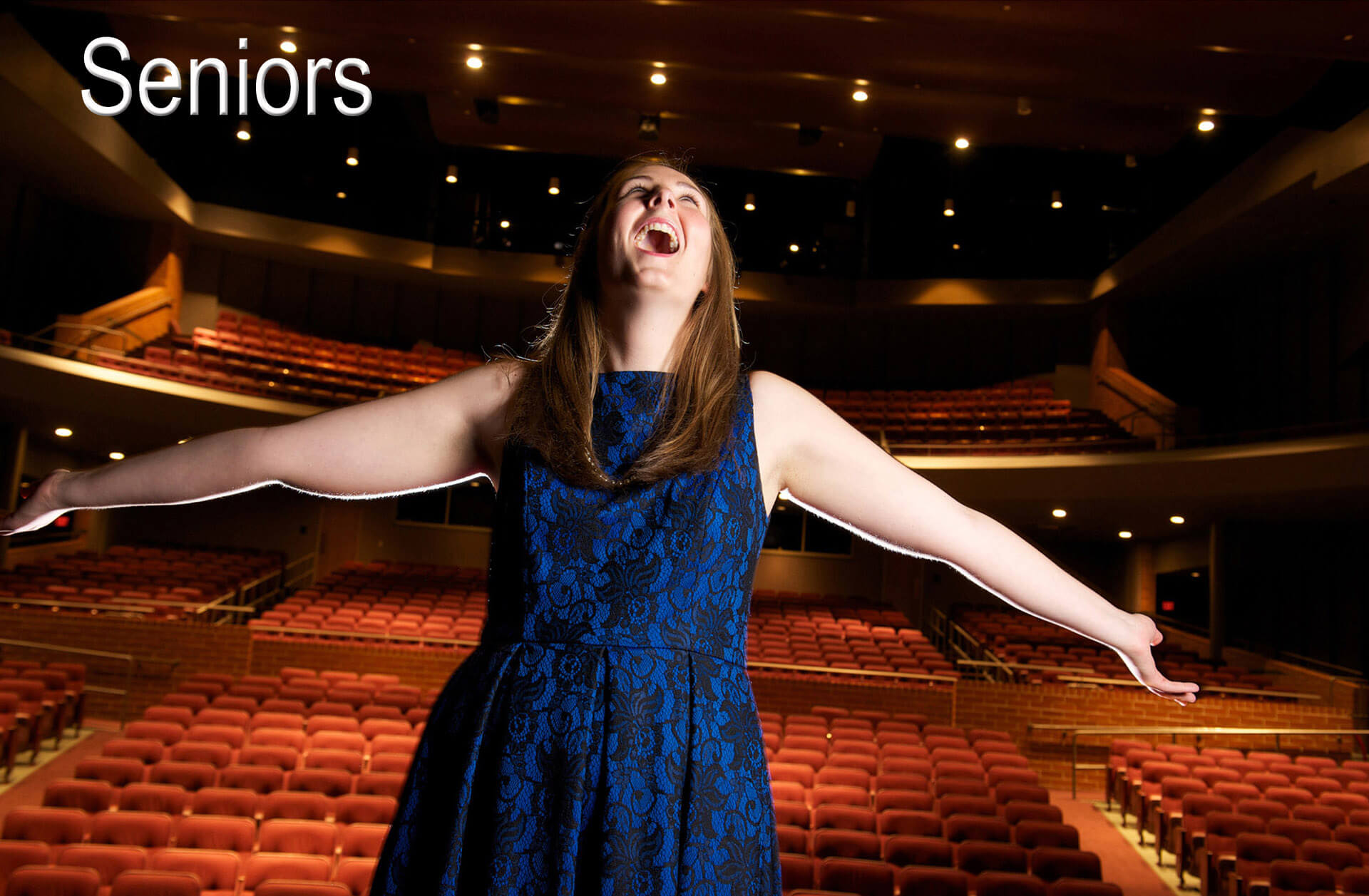 Senior photos featuring a theater student at Clarkston, Michigan's high school.