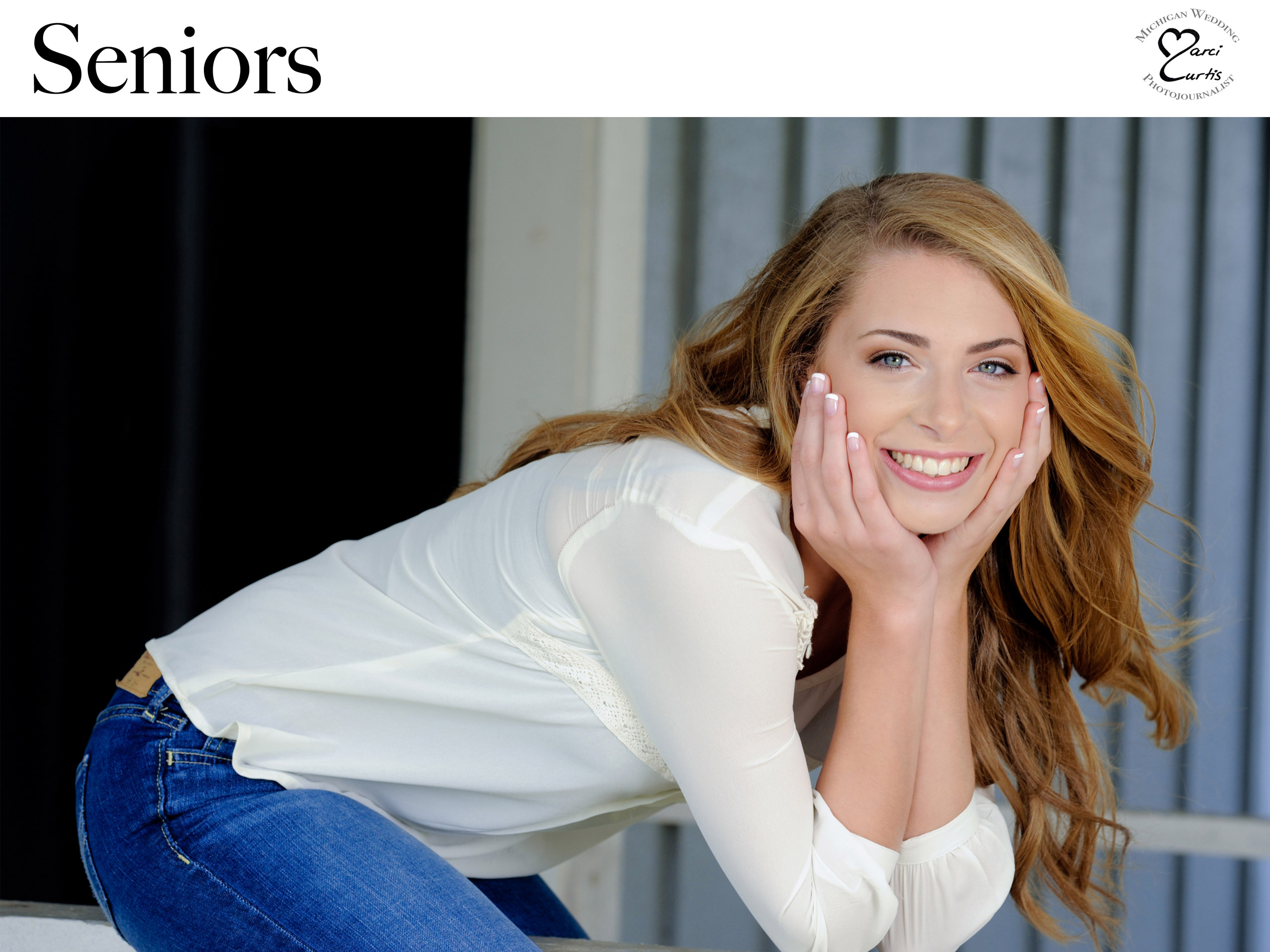 Best Troy, Michigan senior photographer photographs senior photos featuring unique relaxed and fun poses highlighting senior's personalities. title=