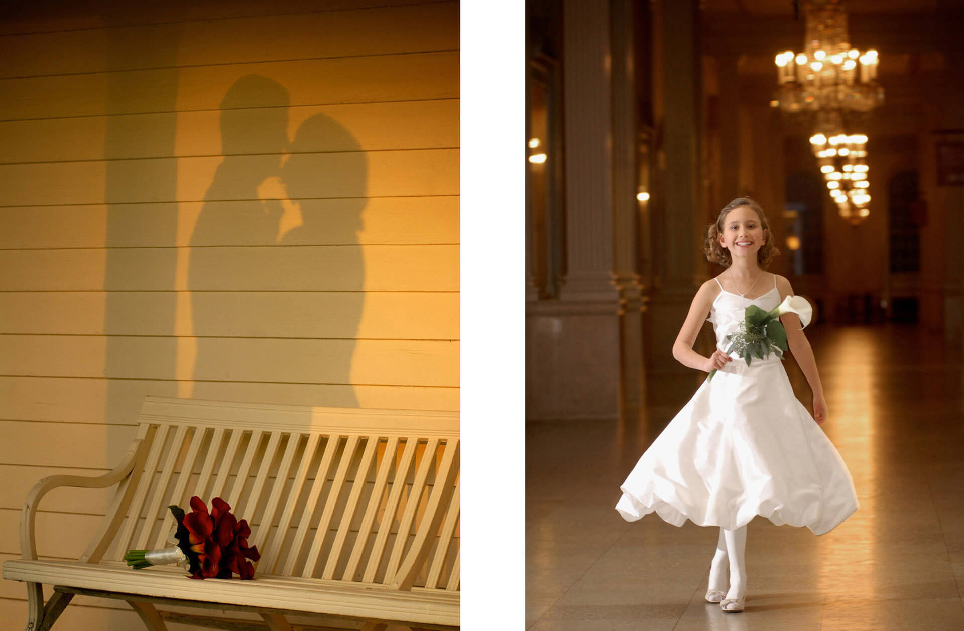 Best classic Ann Arbor, Michigan wedding photography at its best. Split photo of a shadow on a wall at Cobblestone Farm and a flower girl twirling at the Henry Ford Museum in the hallway.