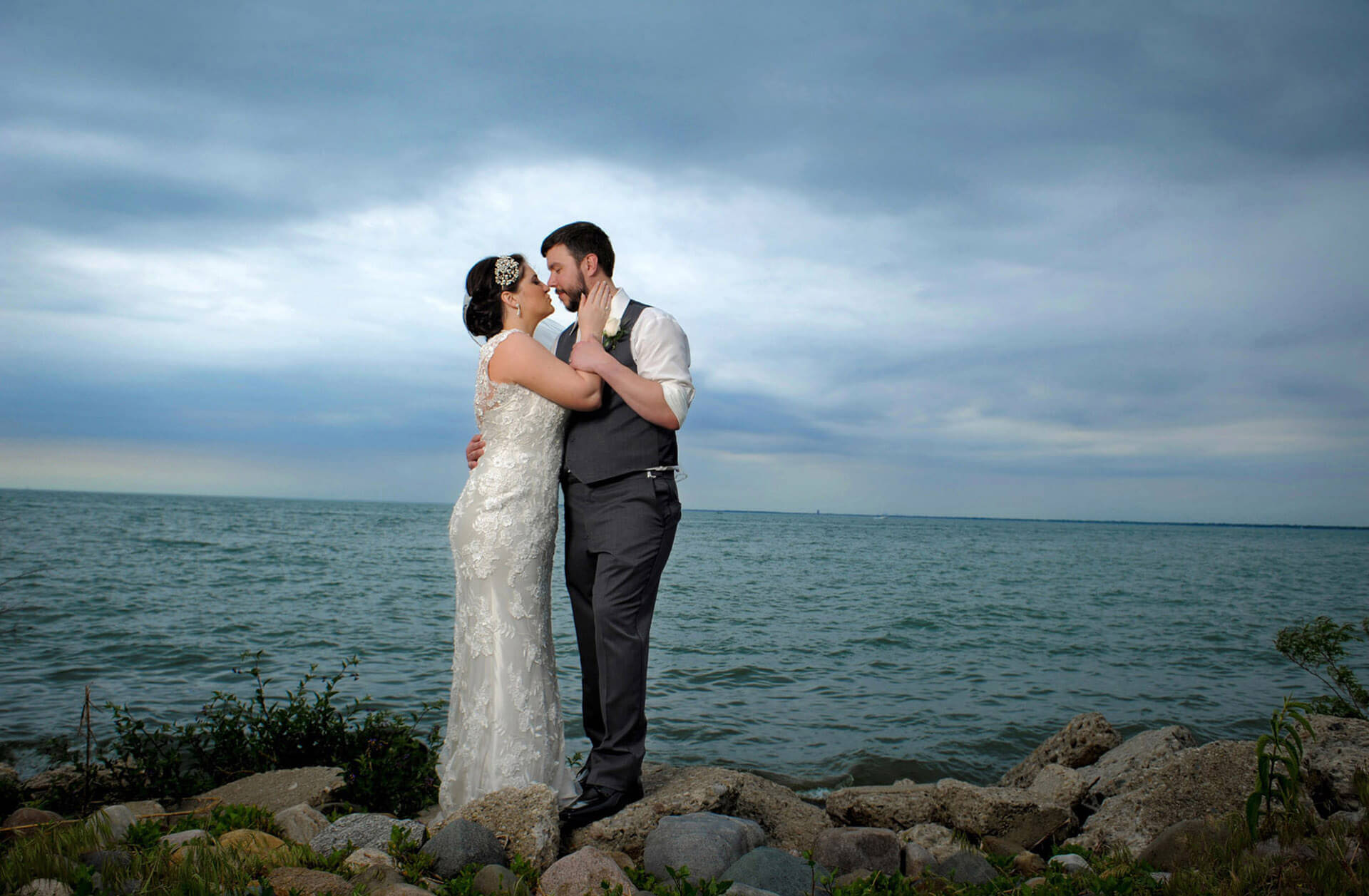 Incredible wedding photography from the Metro Beach in Detroit features affordable wedding photography with unique and gorgeous results.