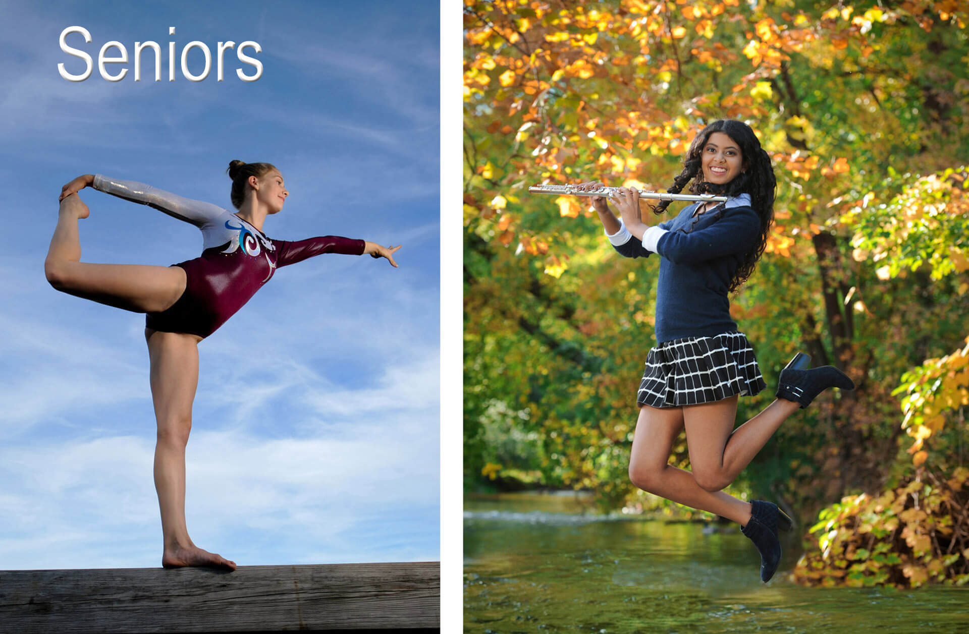 Rochester, Michigan senior photos that tell stories of each senior's talents and interest like this gymnastics senior photo in Rochester Michigan and a band senior photo of a flute player from Troy Michigan.
