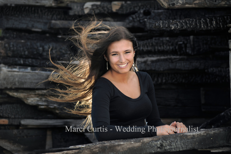 Senior photo featuring the wind blown look.
