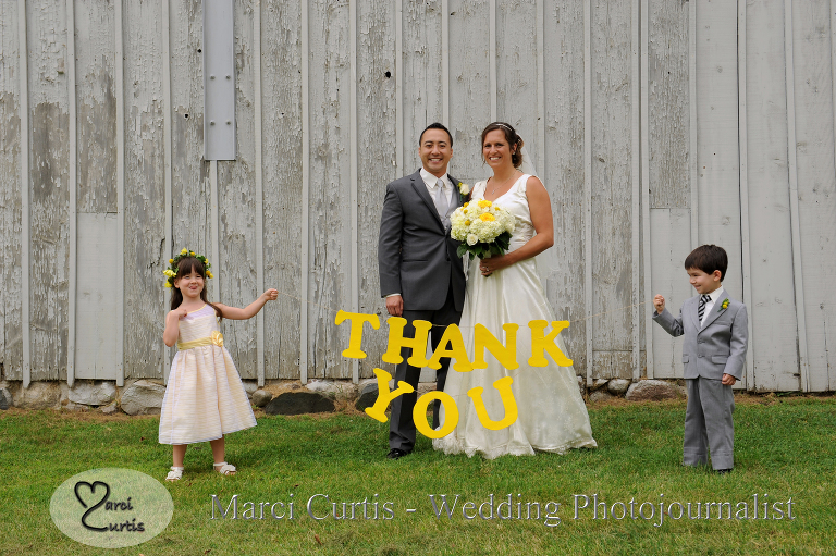 Cute wedding thank you card with kids.