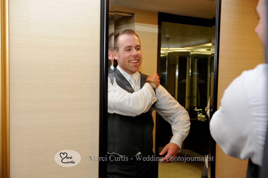 Groom Trevor gets ready for his wedding at the Crowne Plaza in Auburn Hills in Michigan.