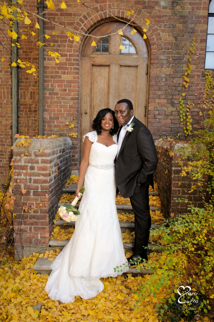 Detroit Nigerian Wedding Photographer photographs the bride and groom outdoors in Metro Detroit.