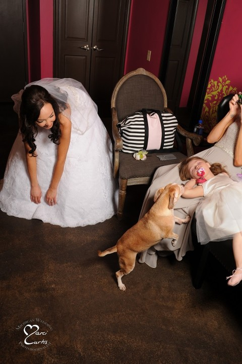 The bride's dog jumps up to wake up the flower girl before their Planterra Conservatory wedding in West Bloomfield, Michigan.