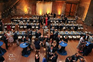 View of Jam Handy set for a wedding from their loft area in Detroit, Michigan.