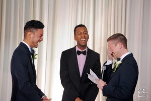 Groom reacts while reading his wedding vows in Detroit, Michigan at the Jam Handy.