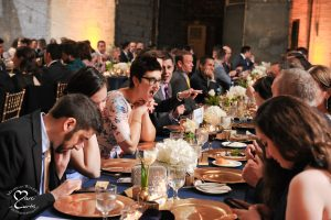 Dinner service at event venue Jam Handy in Detroit, Michigan.